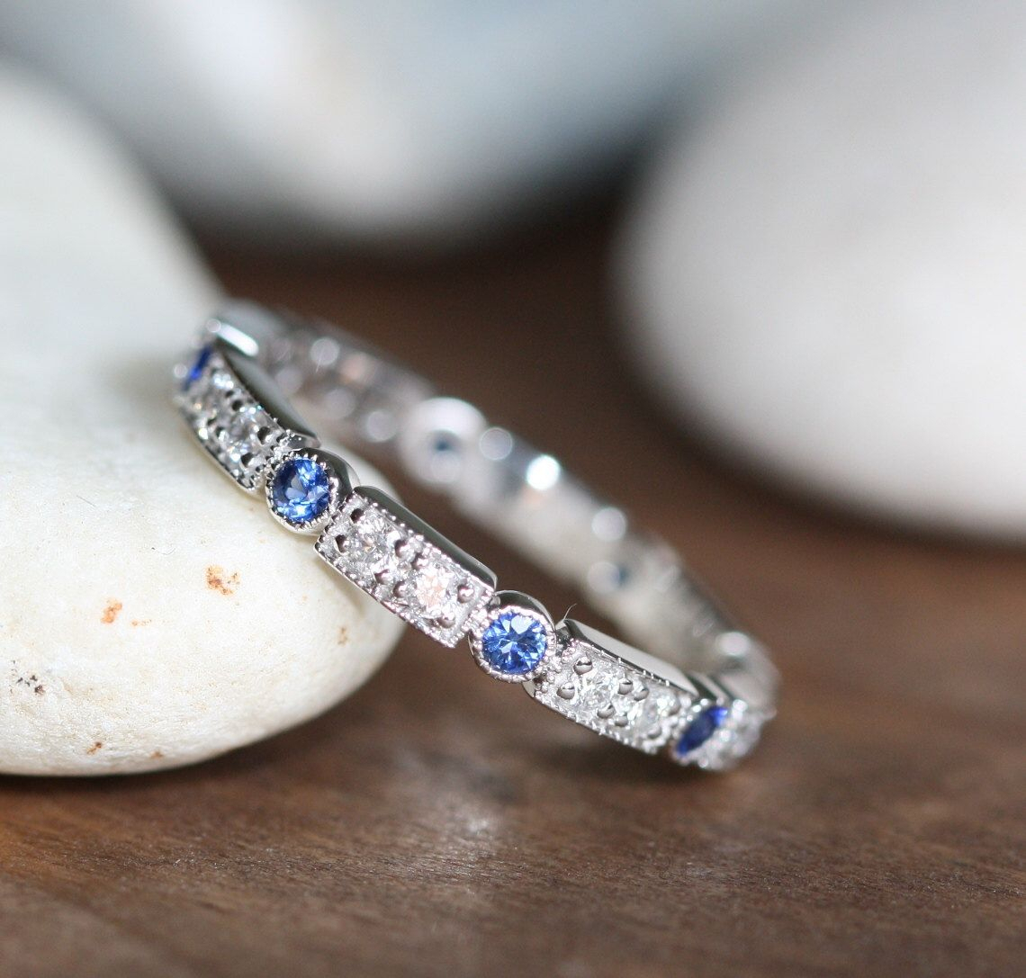 Art Deco Inspired Sapphire Diamond Eternity Band In 14k In Recent Diamond Art Deco Inspired Anniversary Bands In White Gold (View 5 of 25)