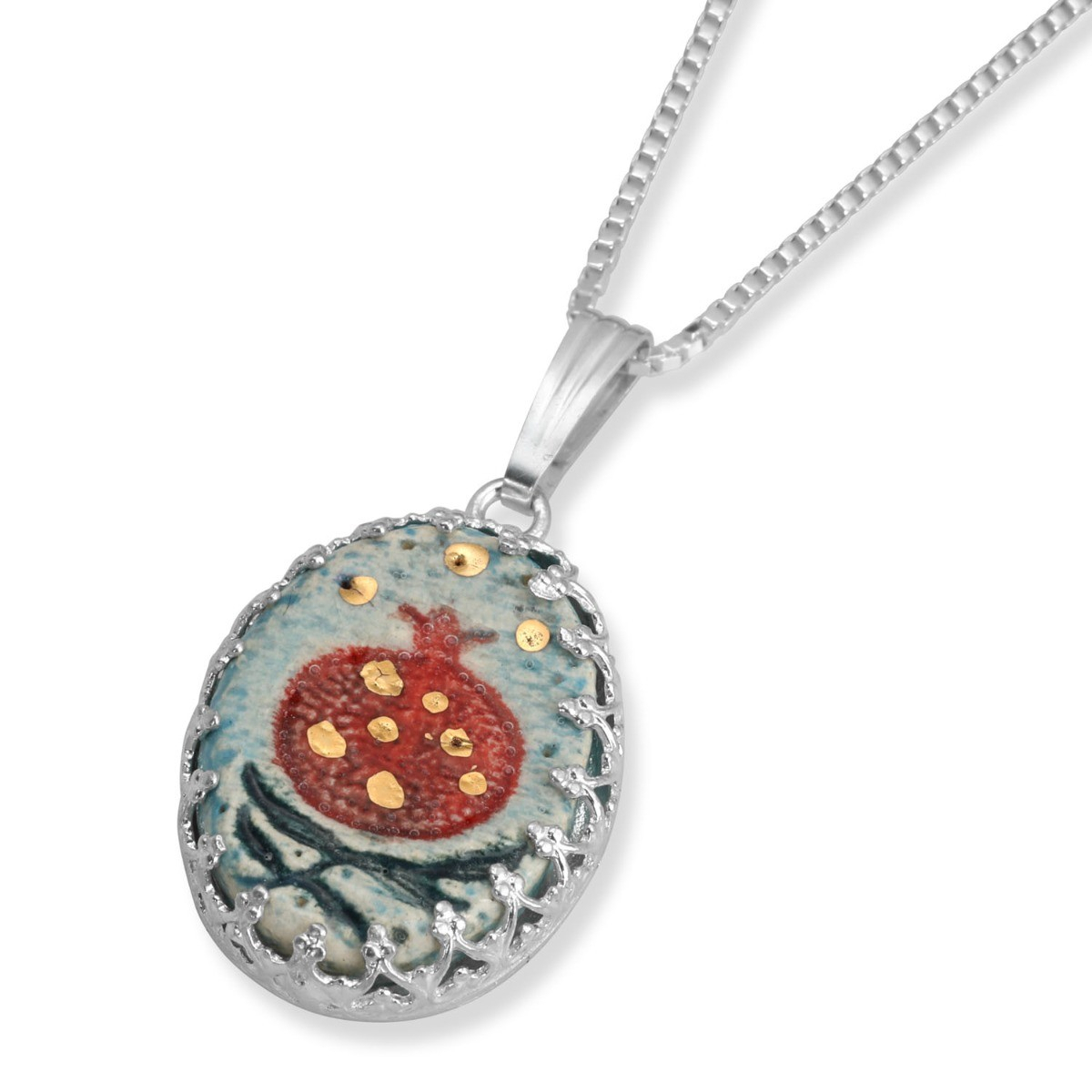 Art In Clay Sterling Silver Pomegranate Ceramic Necklace With 24k Gold Accents Regarding Latest Family Script Locket Element Necklaces (View 15 of 25)