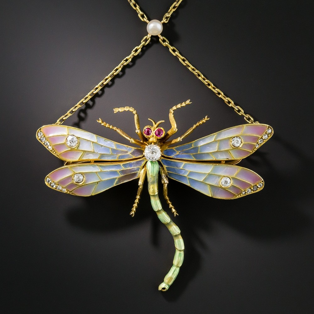 Art Nouveau Plique À Jour And Diamond Dragonfly Necklace / Brooch Within Recent Sparkling Dragonfly Y  Necklaces (View 4 of 25)