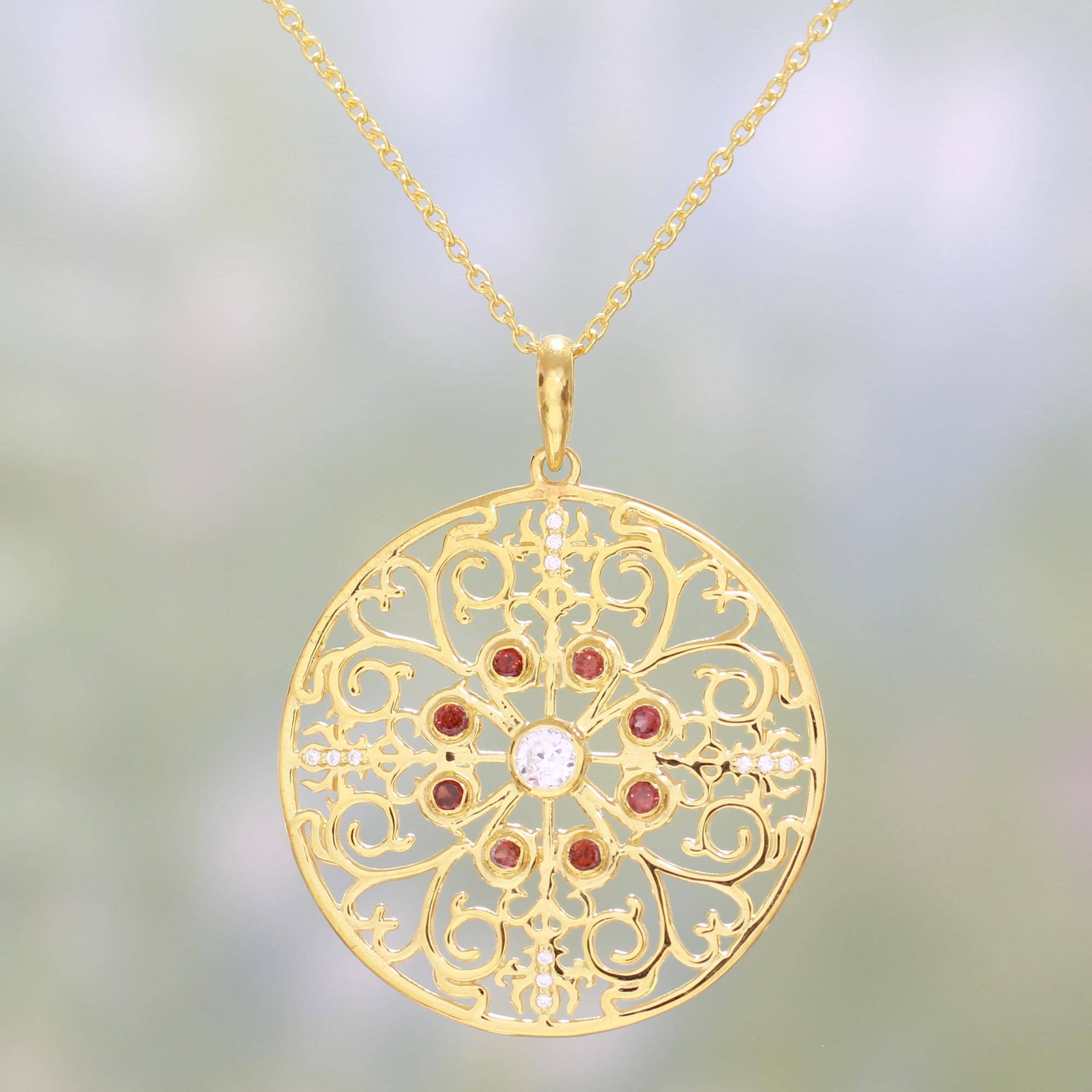 Artisan Crafted Gold Plated Garnet Indian Pendant Necklace, 'sparkling Vines In Red' Intended For Most Popular Sparkling Stones Pendant Necklaces (View 16 of 25)