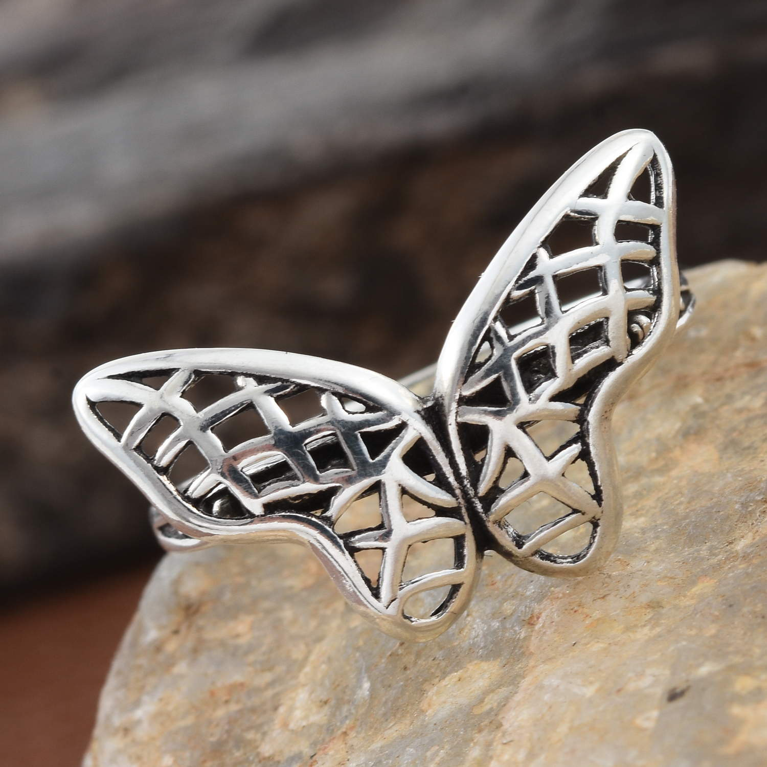 Artisan Crafted Openwork Butterfly Ring In Sterling Silver (size 9.0) (avg (View 11 of 25)
