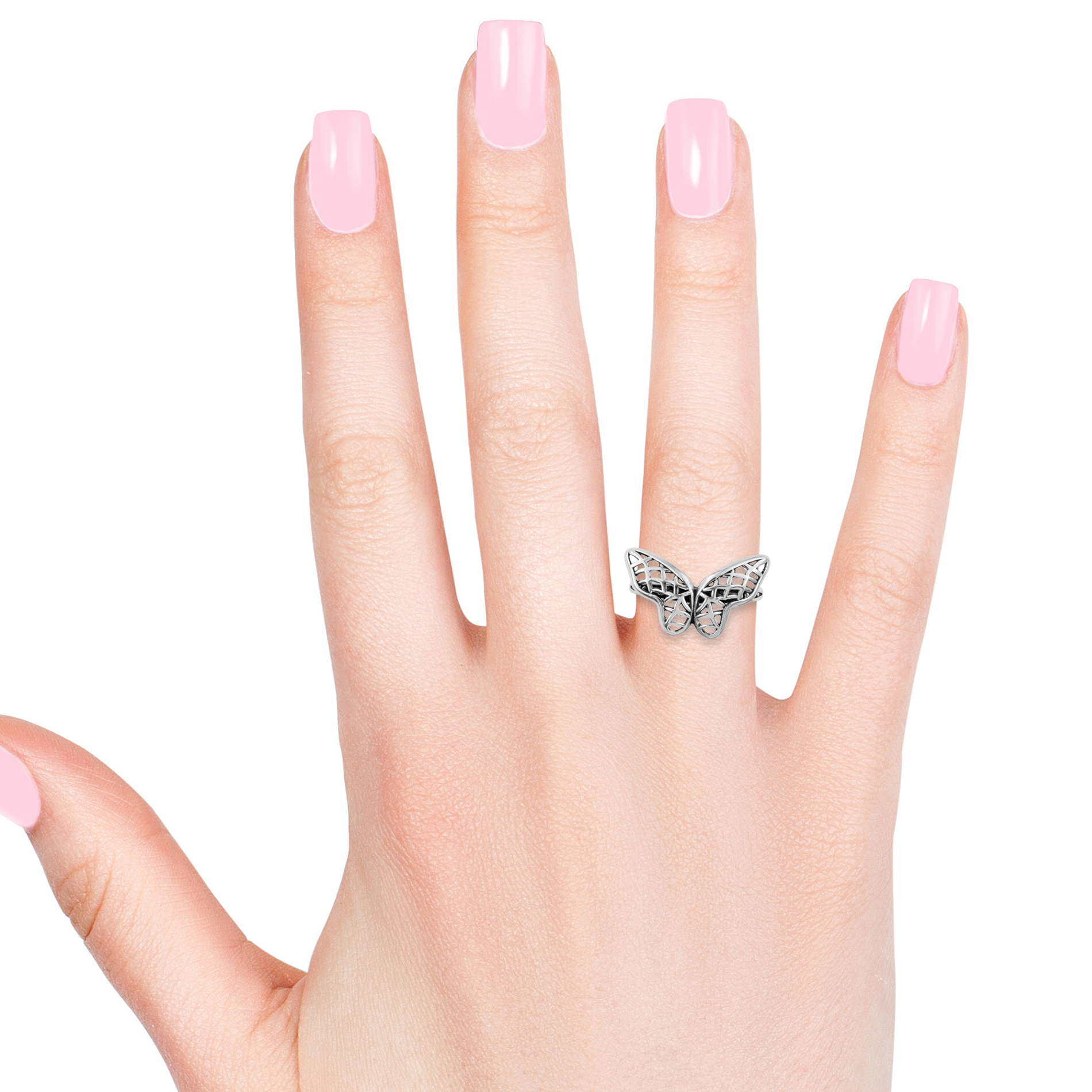 Artisan Crafted Openwork Butterfly Ring In Sterling Silver (size 9.0) (avg (View 4 of 25)