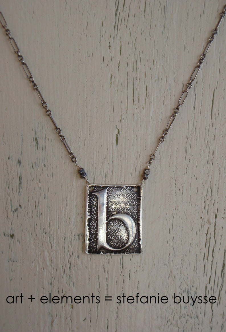 "Artisan Made ""poetic"" Initial Pendant Necklace – Lowercase Letters B, D, G,  H, K, M, P, Q, W, Y – Sterling Silver – Ooak For 2020 Letter B Alphabet Locket Element Necklaces (View 3 of 25)"