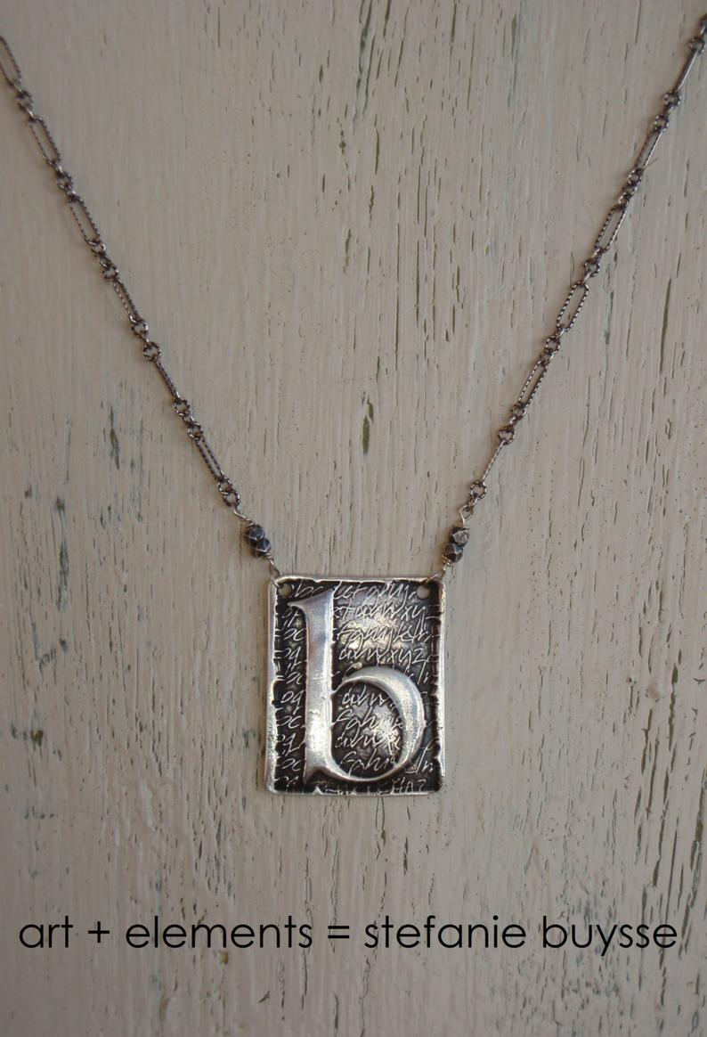 "Artisan Made ""poetic"" Initial Pendant Necklace – Lowercase Letters B, D, G,  H, K, M, P, Q, W, Y – Sterling Silver – Ooak For Newest Letter M Alphabet Locket Element Necklaces (View 2 of 25)"
