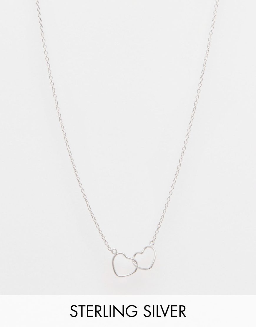 Asos Sterling Silver Interlocking Hearts Necklace | Jewellery With Regard To Latest Interlocked Hearts Collier Necklaces (View 3 of 25)