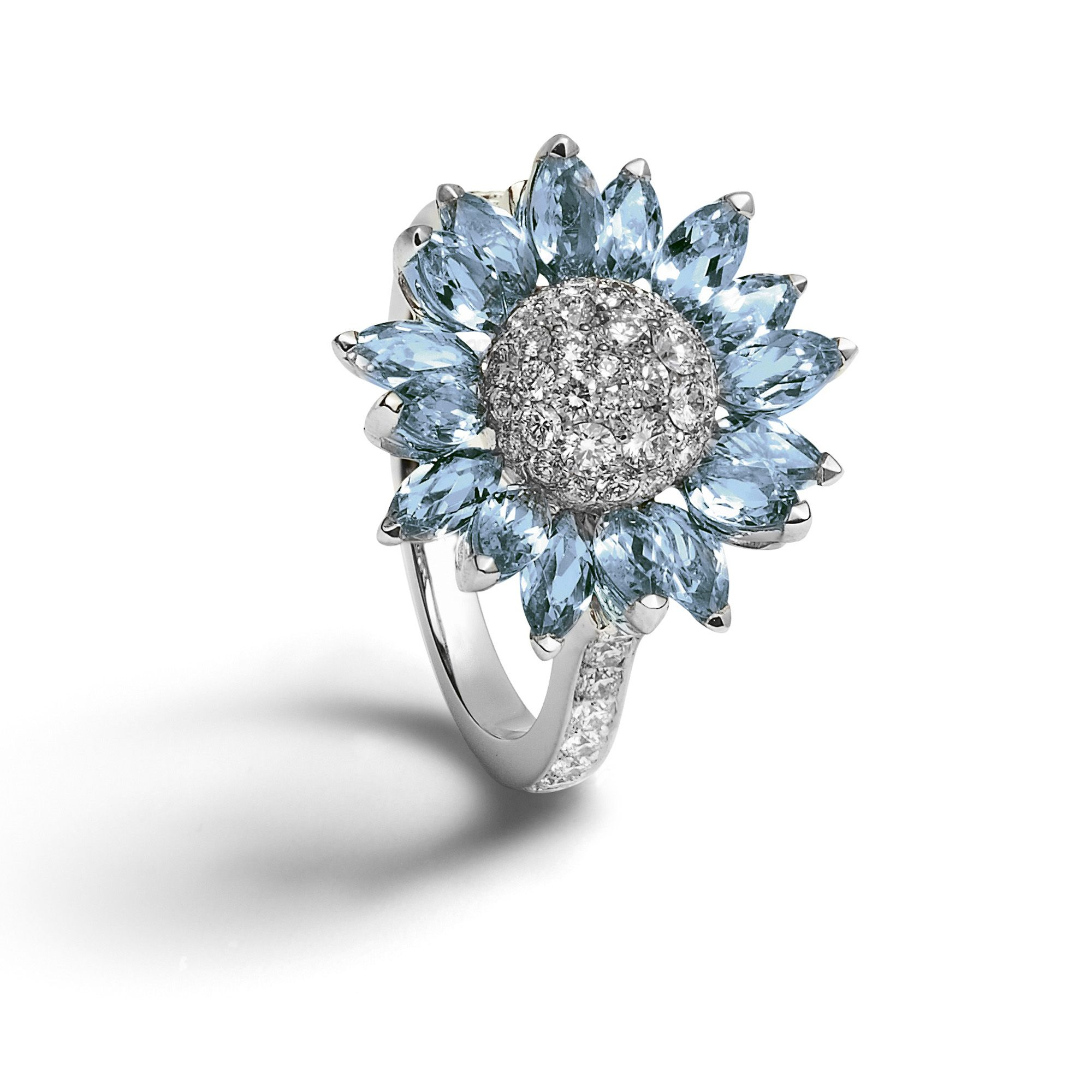 Asprey ~ Daisy Heritage Aquamarine Ring, Set With Marquise Cut With Regard To Recent Pavé Flower Rings (View 15 of 25)