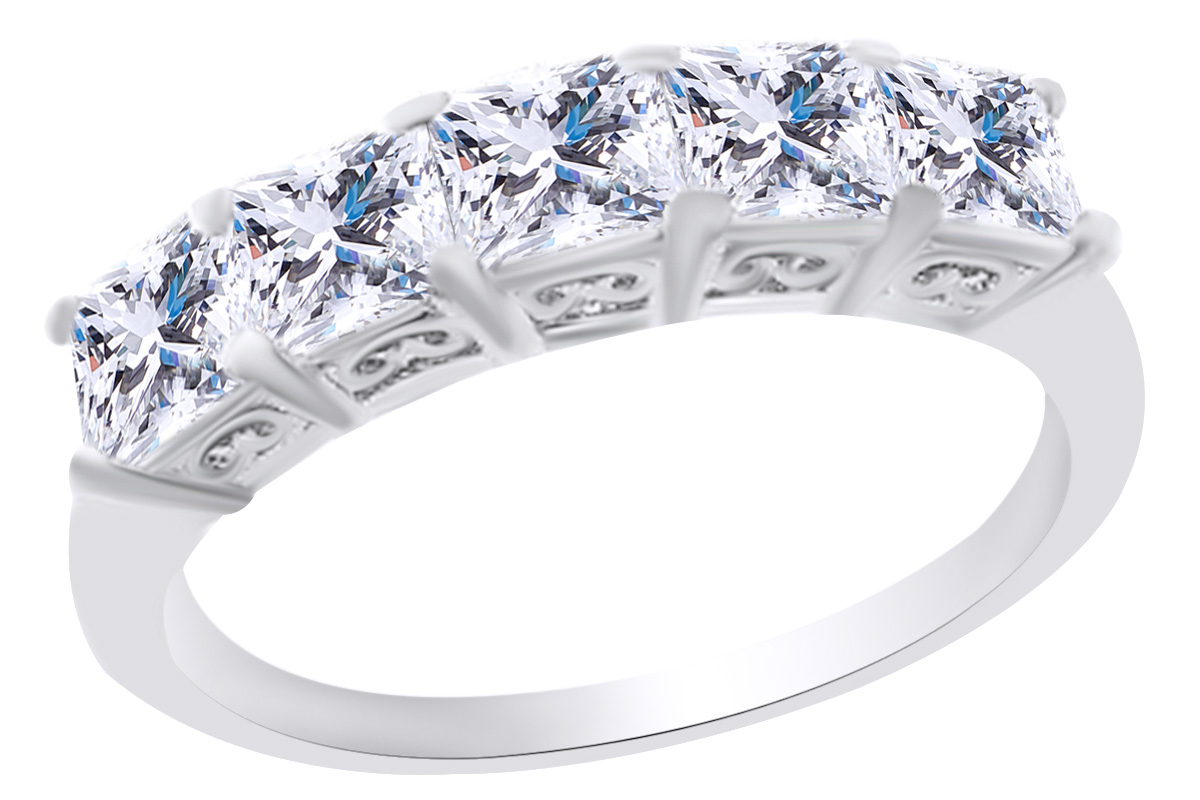 Asscher Shape White Cubic Zirconia Five Stone Anniversary Band Ring In 925  Sterling Silver Ring Size  (View 6 of 25)