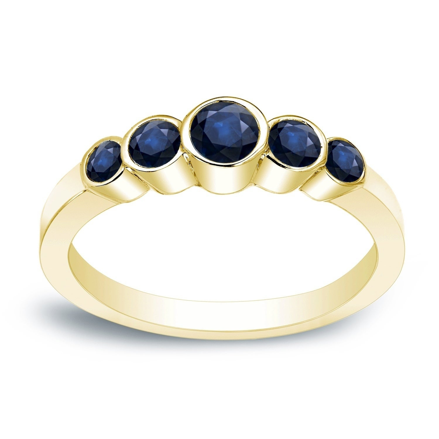 "Auriya 1/2ct Tgw 5 Stone Blue Sapphire Bezel Stackable Wedding Band 14k Gold Regarding Best And Newest Diamond Accent Five Stone ""s"" Anniversary Bands In White Gold (View 16 of 25)"