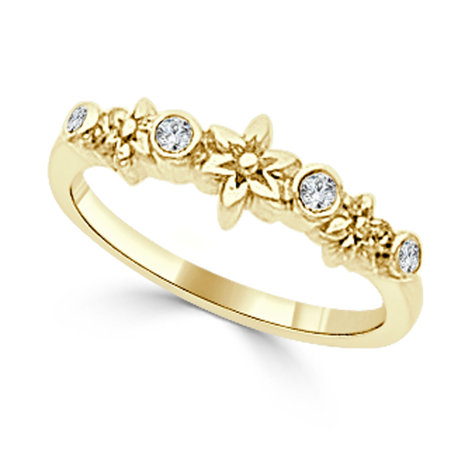 Auriya 10K Gold 1/10Ct Tdw Stackable Diamond Accent Flower Wedding  Anniversary Band With Most Popular Diamond Accent Anniversary Bands In Gold (View 7 of 25)