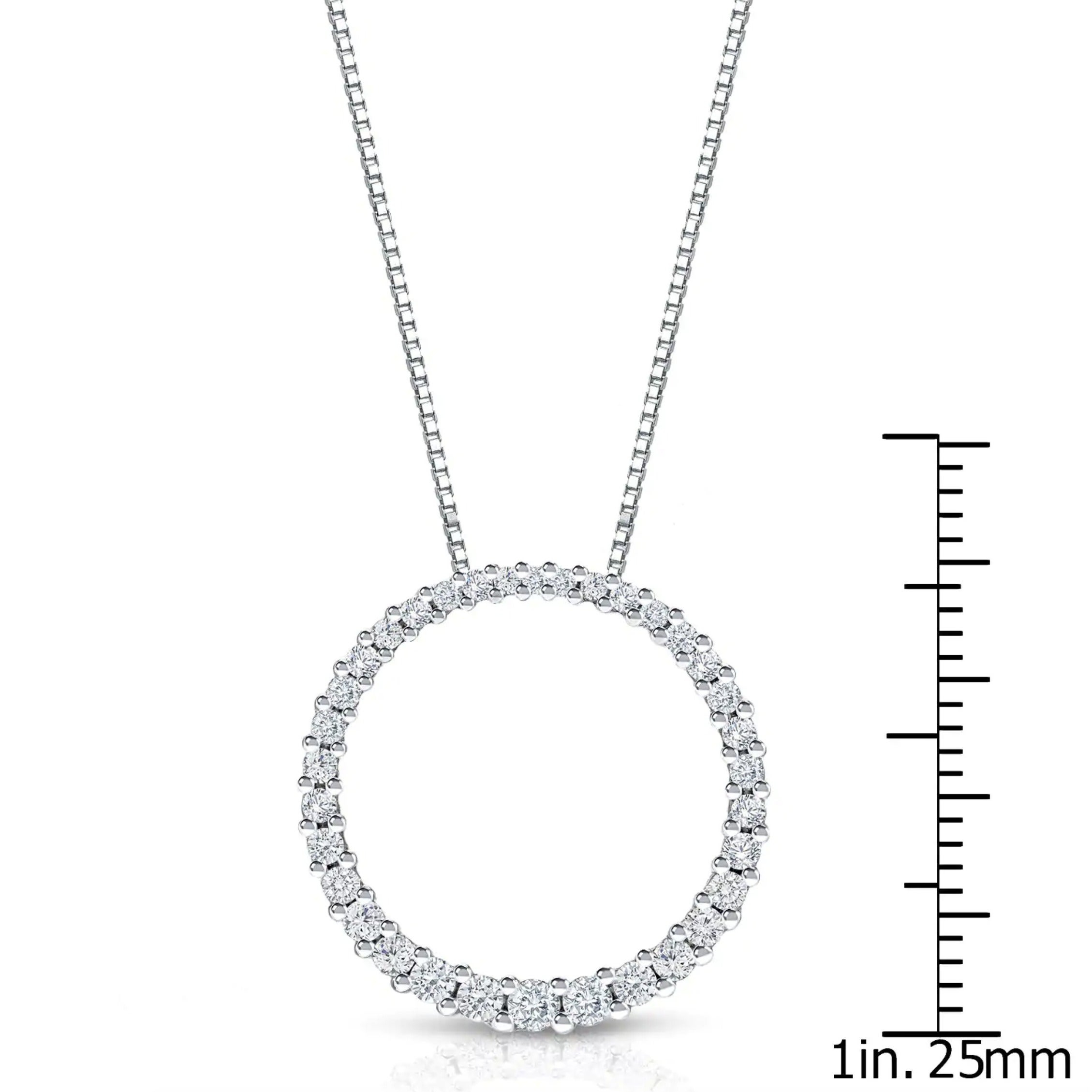 Auriya 14K White Gold Fashion Circle Of Life Diamond Necklace With Current Circle Of Sparkle Necklaces (View 3 of 25)