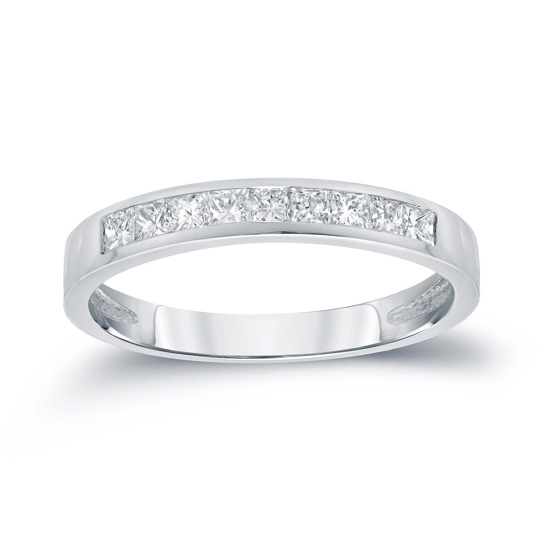 Auriya Channel Set Princess Cut Diamond Wedding Band 1/2Ct Tdw 14K Gold Regarding Current Princess Cut Diamond Anniversary Bands In Gold (View 12 of 25)