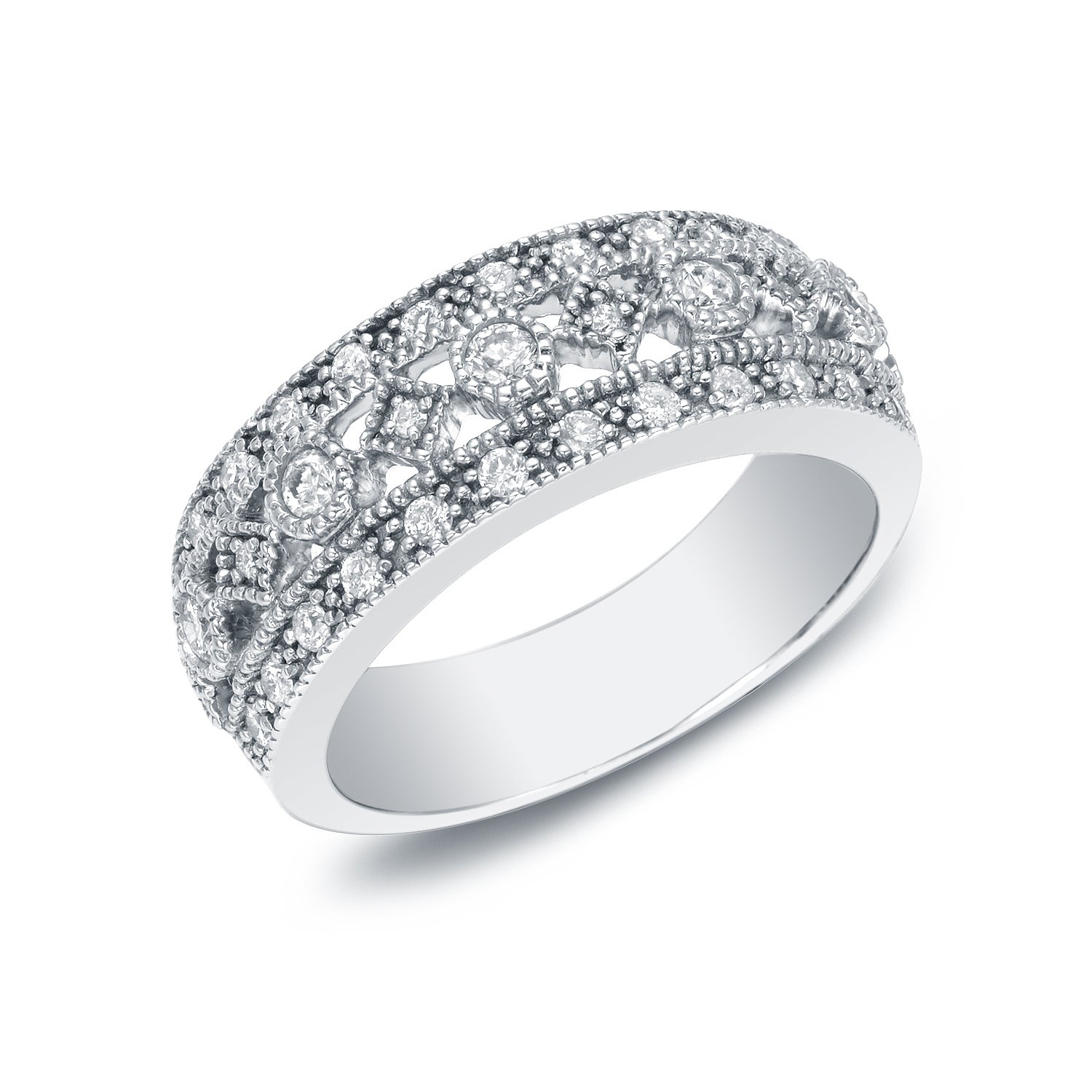 Auriya Vintage Inspired Wide 3 Row Diamond Wedding Band 1/2cttw 14k White Gold Throughout Most Current Diamond Vintage Style Three Row Anniversary Bands In White Gold (View 5 of 25)