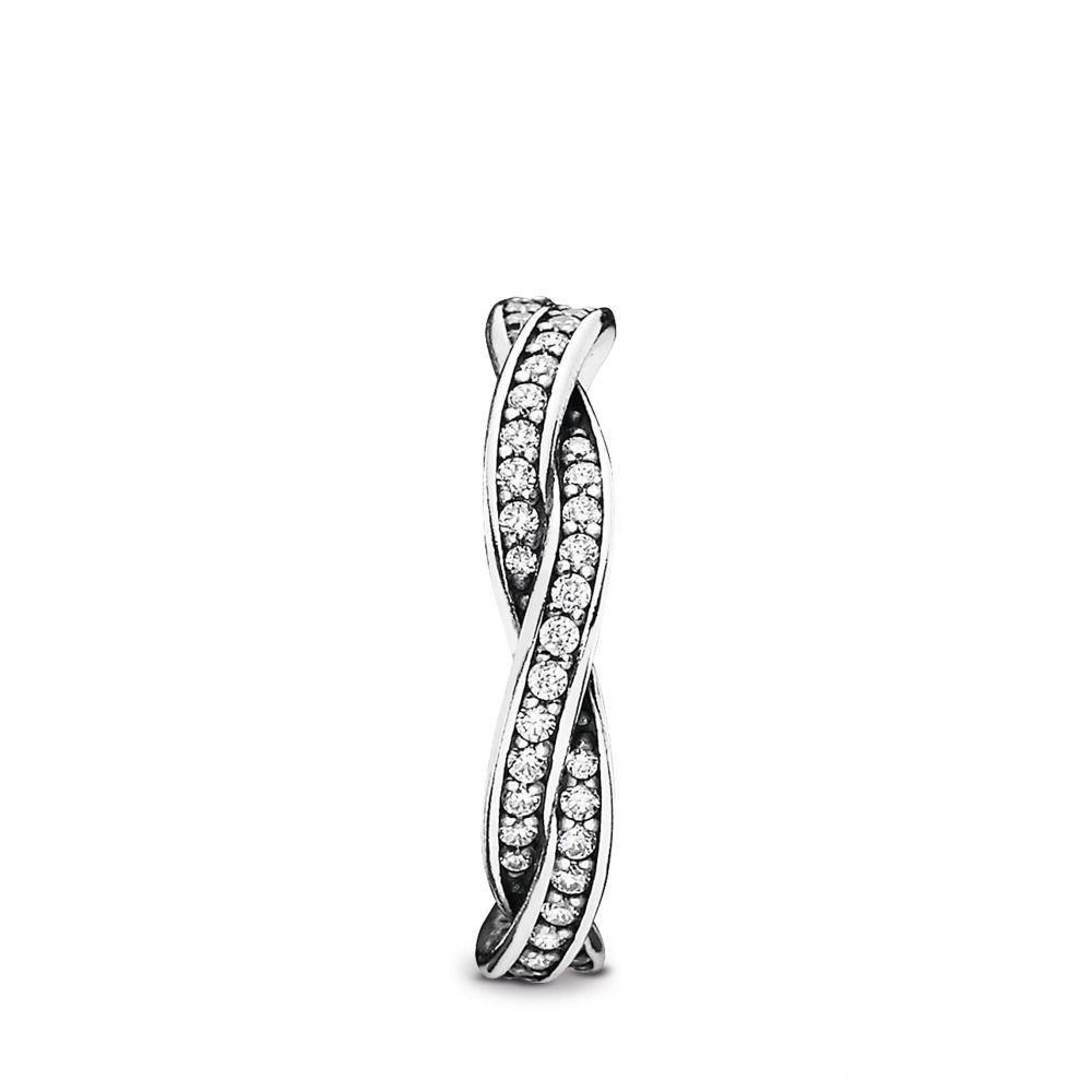 Auslauf Pandora Geflochtener Pavé Ring Sterling Silber, Cubic Regarding Recent Pandora Logo Pavé Rings (View 1 of 25)