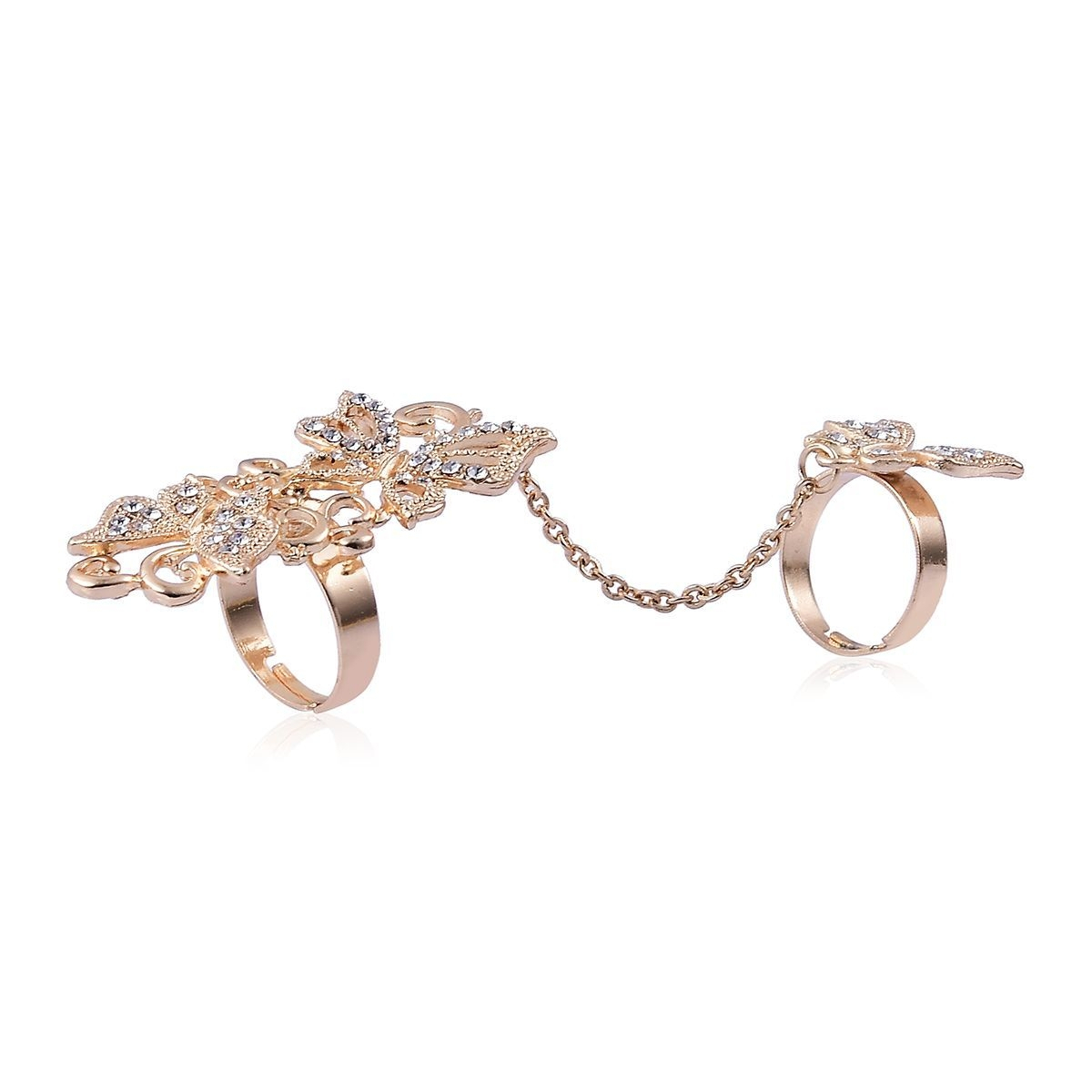 Austrian Crystal Goldtone Chain Linking Double Finger Openwork Butterfly  Ring (Adjustable) For Newest Openwork Butterfly Rings (View 5 of 25)