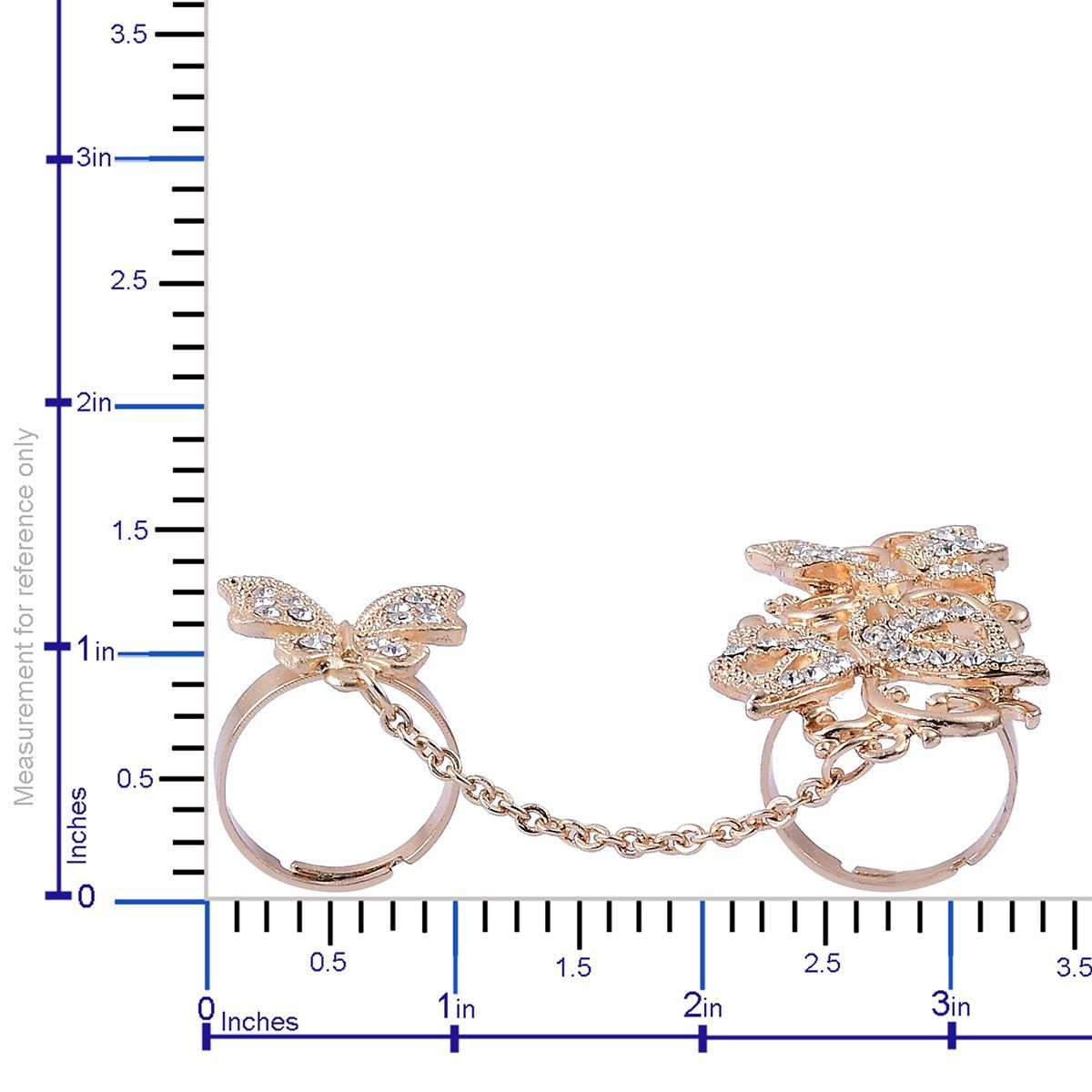 Austrian Crystal Goldtone Chain Linking Double Finger Openwork Butterfly  Ring (Adjustable) With Most Recently Released Openwork Butterfly Rings (View 6 of 25)