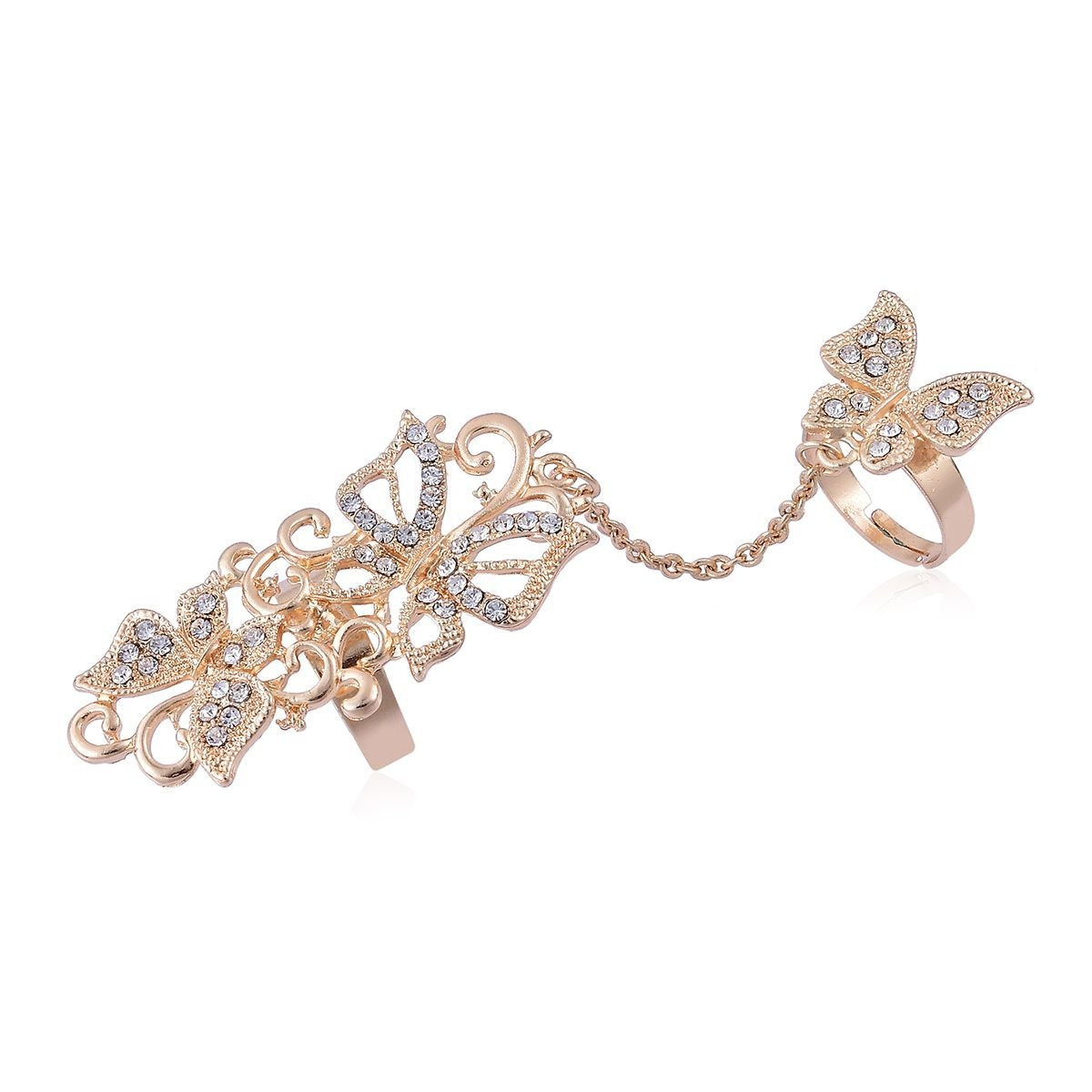 Austrian Crystal Goldtone Chain Linking Double Finger Openwork Butterfly  Ring (Adjustable) With Regard To 2018 Openwork Butterfly Rings (View 7 of 25)