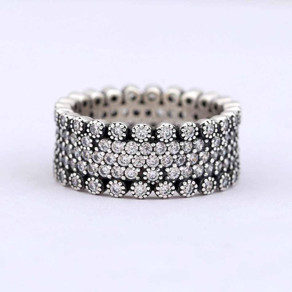 Authentic 925 Sterling Silver Ring Lavish Sparkle Ring With Crystal Rings  For Women Wedding Party Gift Fine Jewelry Inside Newest Entwined Circles Pandora Logo & Sparkle Rings (View 1 of 25)