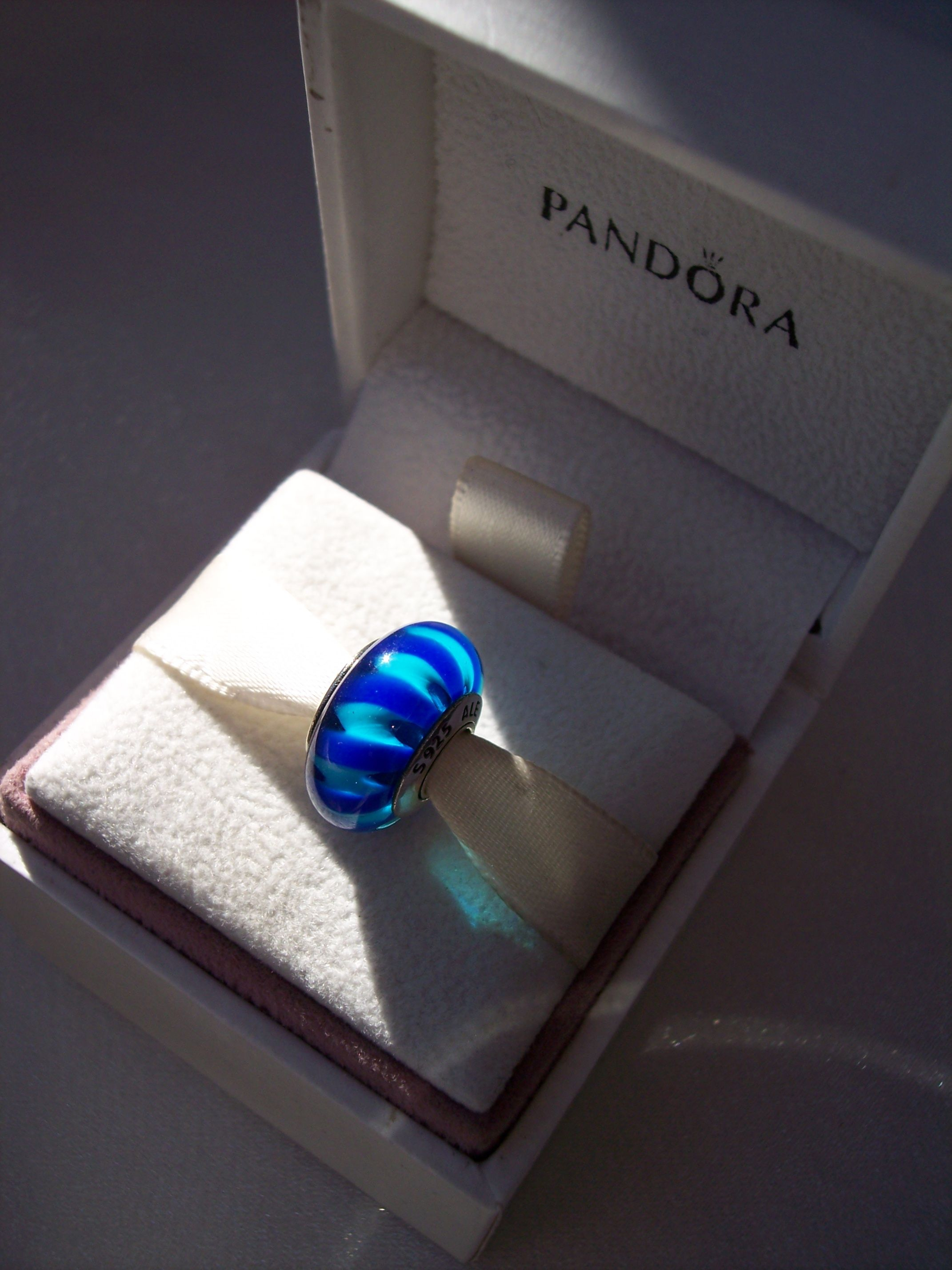 Authentic Pandora Blue Stripe Zigzag Retired Murano S925 Ale Intended For 2017 Blue Stripes Rings (Gallery 16 of 25)