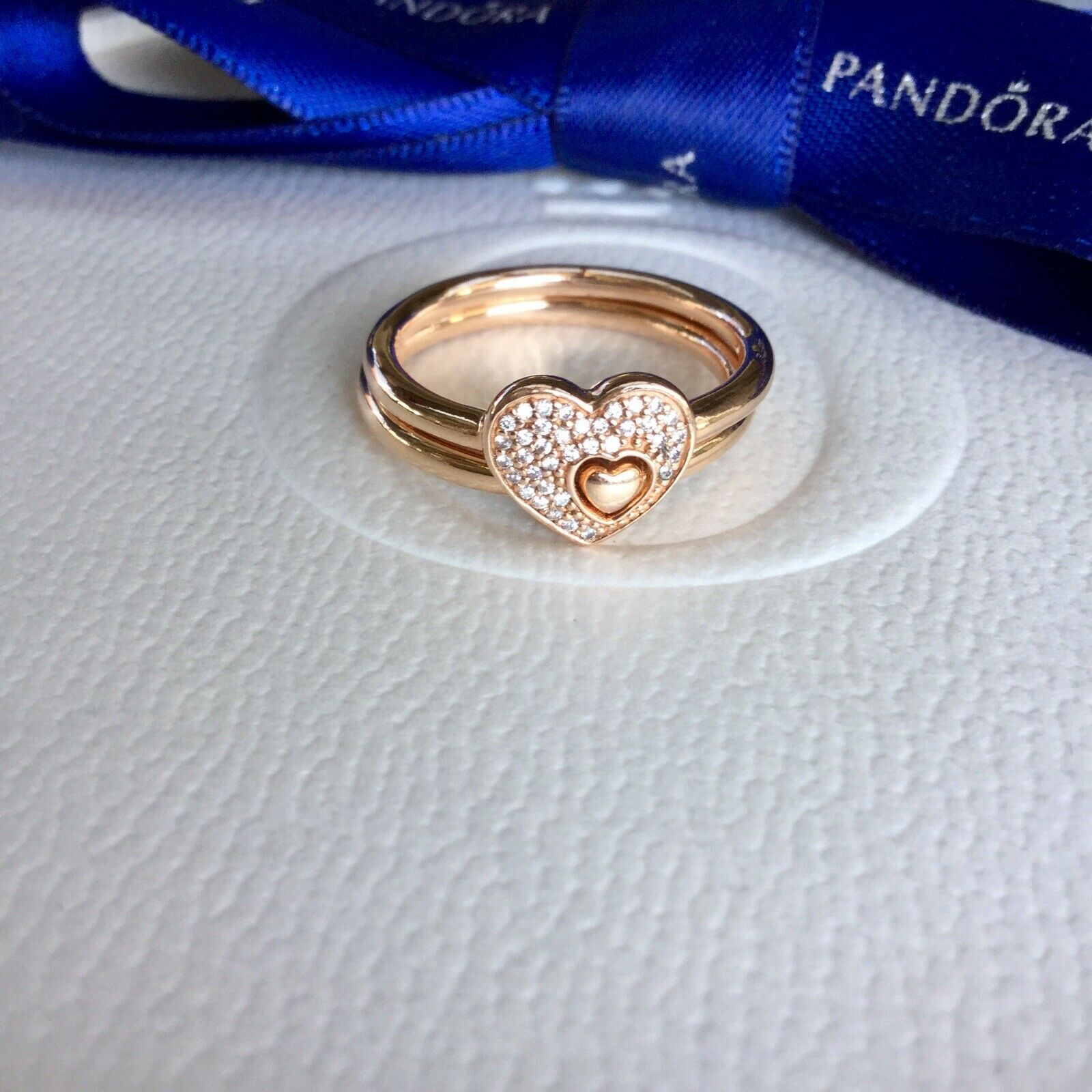 Authentic Pandora Rose Gold Shimmering Puzzle Heart Cz Ring Set Sz 56  #186550Cz Pertaining To Latest Shimmering Feather Rings (View 5 of 25)