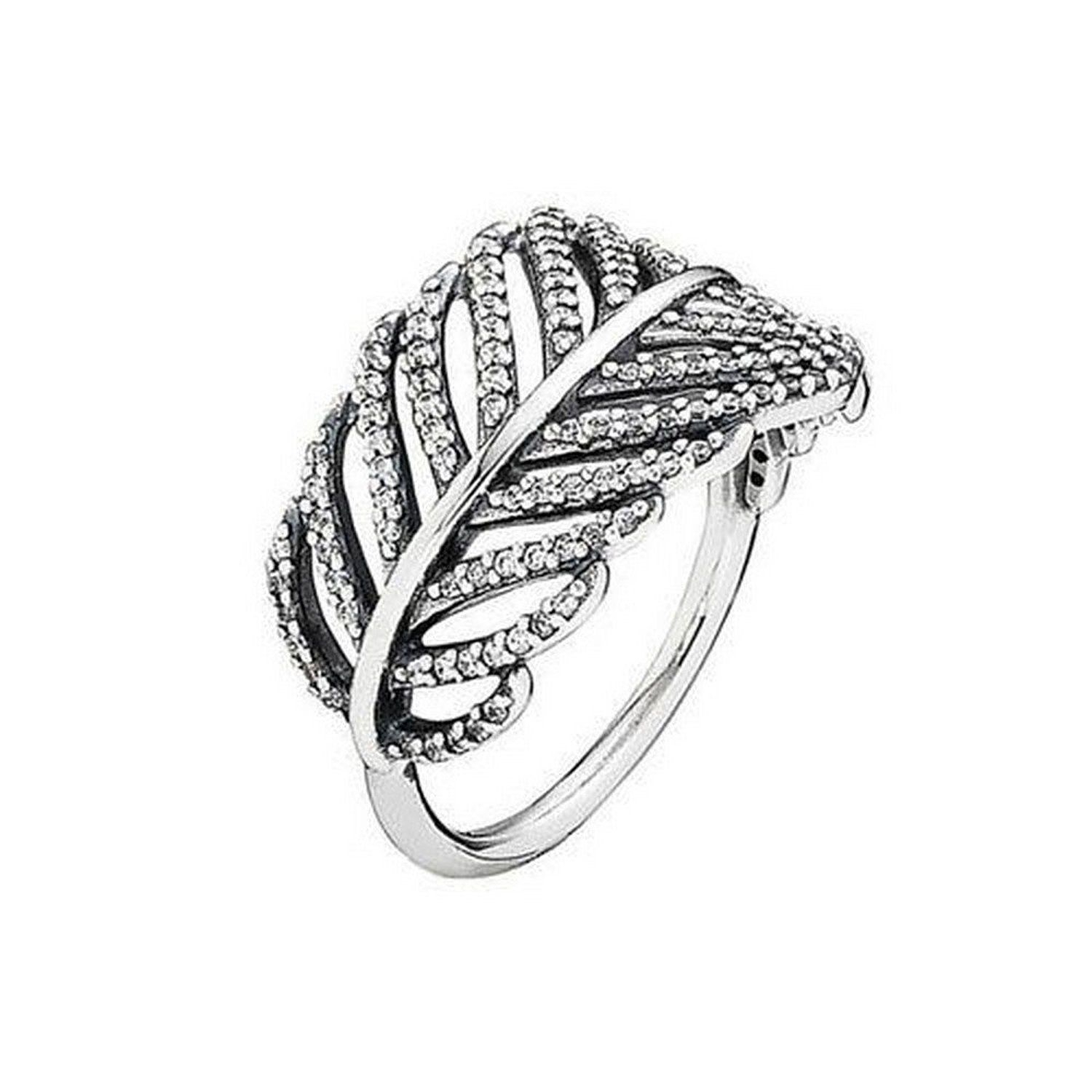 Authentic S925 Ale Pandora Light As A Feather Ring #190886cz Size 7 / 54 W/ Box With Most Popular Shimmering Feather Rings (View 9 of 25)