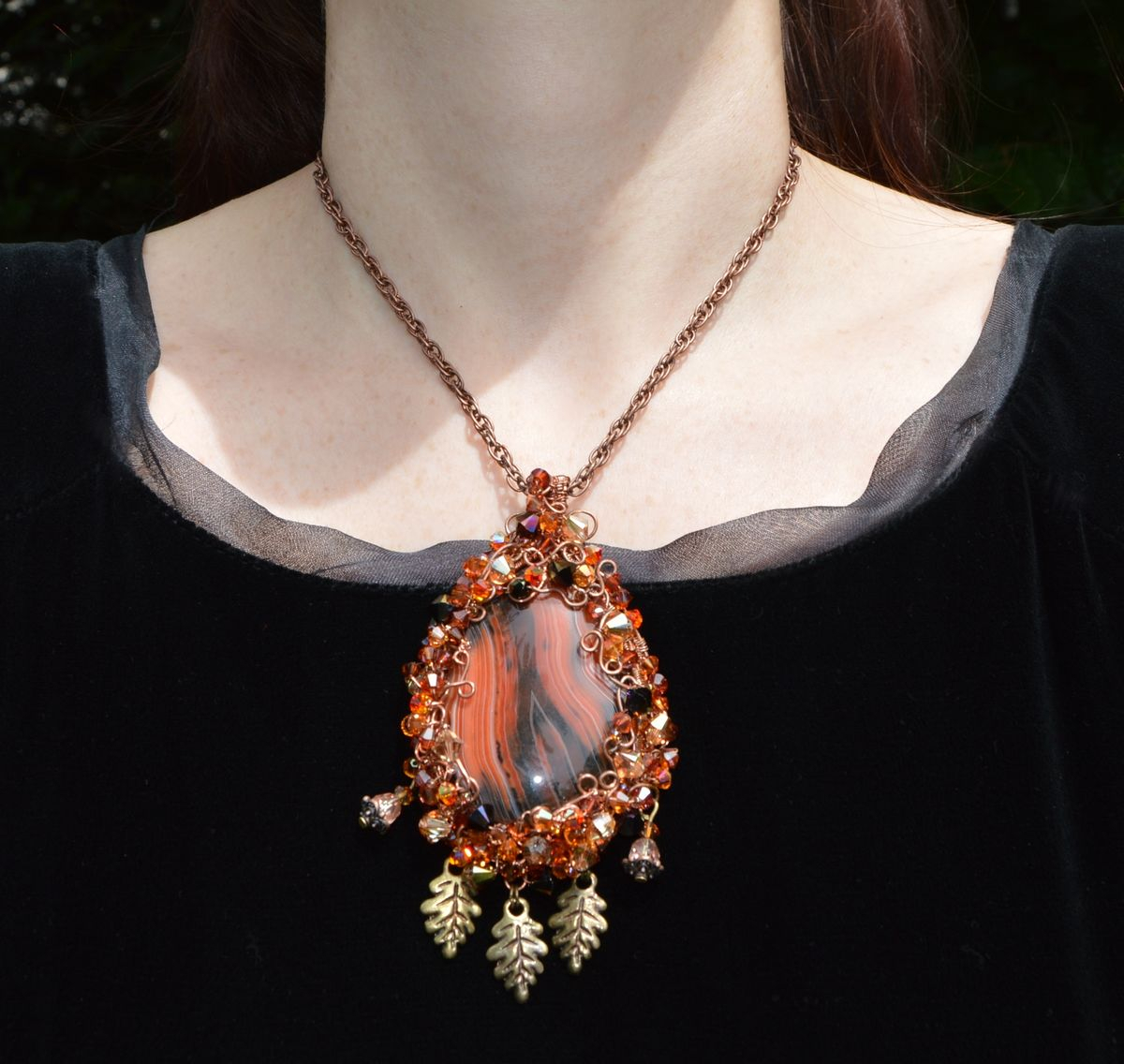 Autumn Leaf Pendant In Fall Colors – Elven Wire Wrapped Crystal Regarding Most Up To Date Multi Colored Crystal Patterns Of Frost Pendant Necklaces (Gallery 23 of 25)