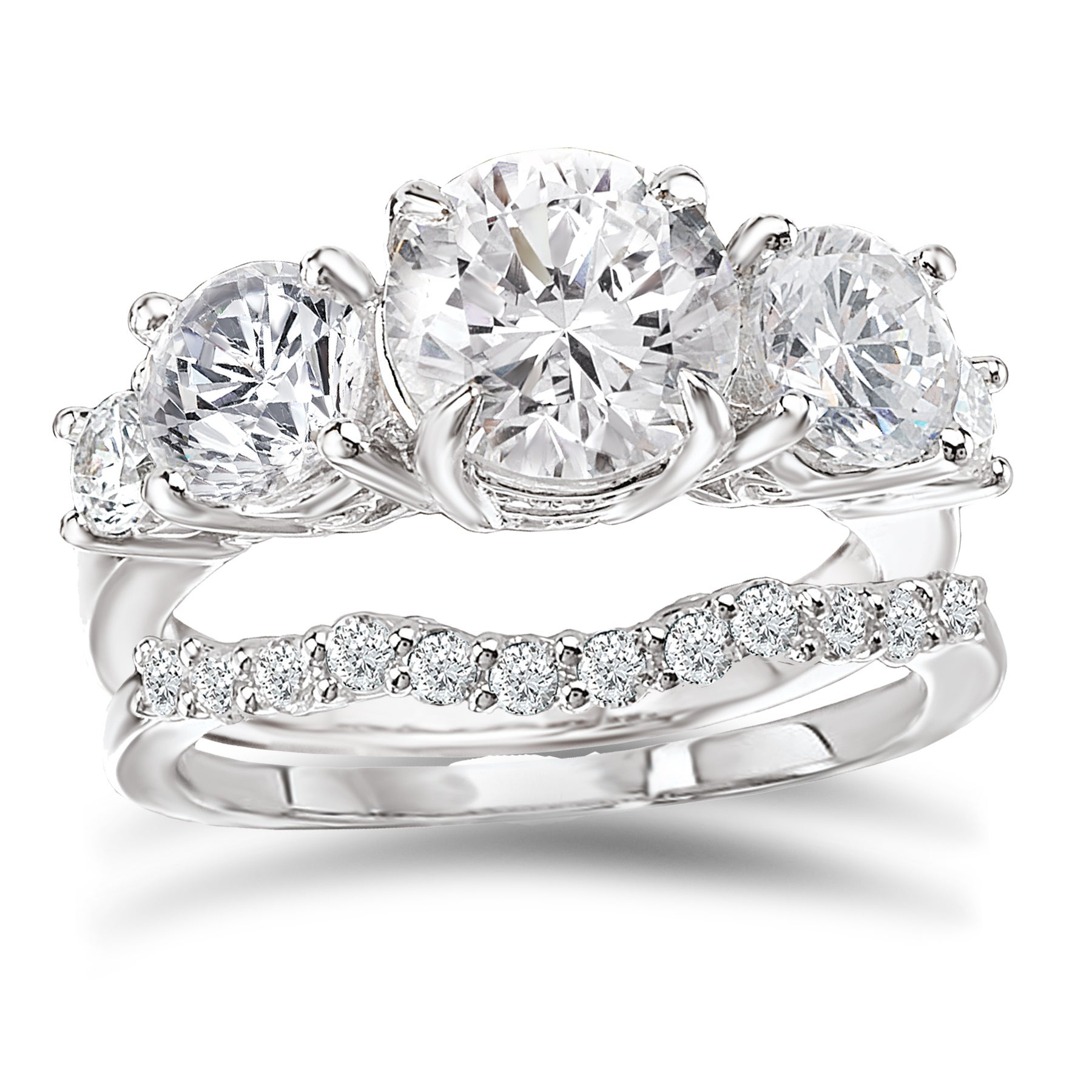 """Avanti Rhodium Plated Sterling Silver 3 1/4Ct Tgw Cz Round Five Stone  Bridal Ring Set With Most Popular Diamond Five Stone """"s"""" Anniversary Bands In Sterling Silver (View 10 of 25)"""
