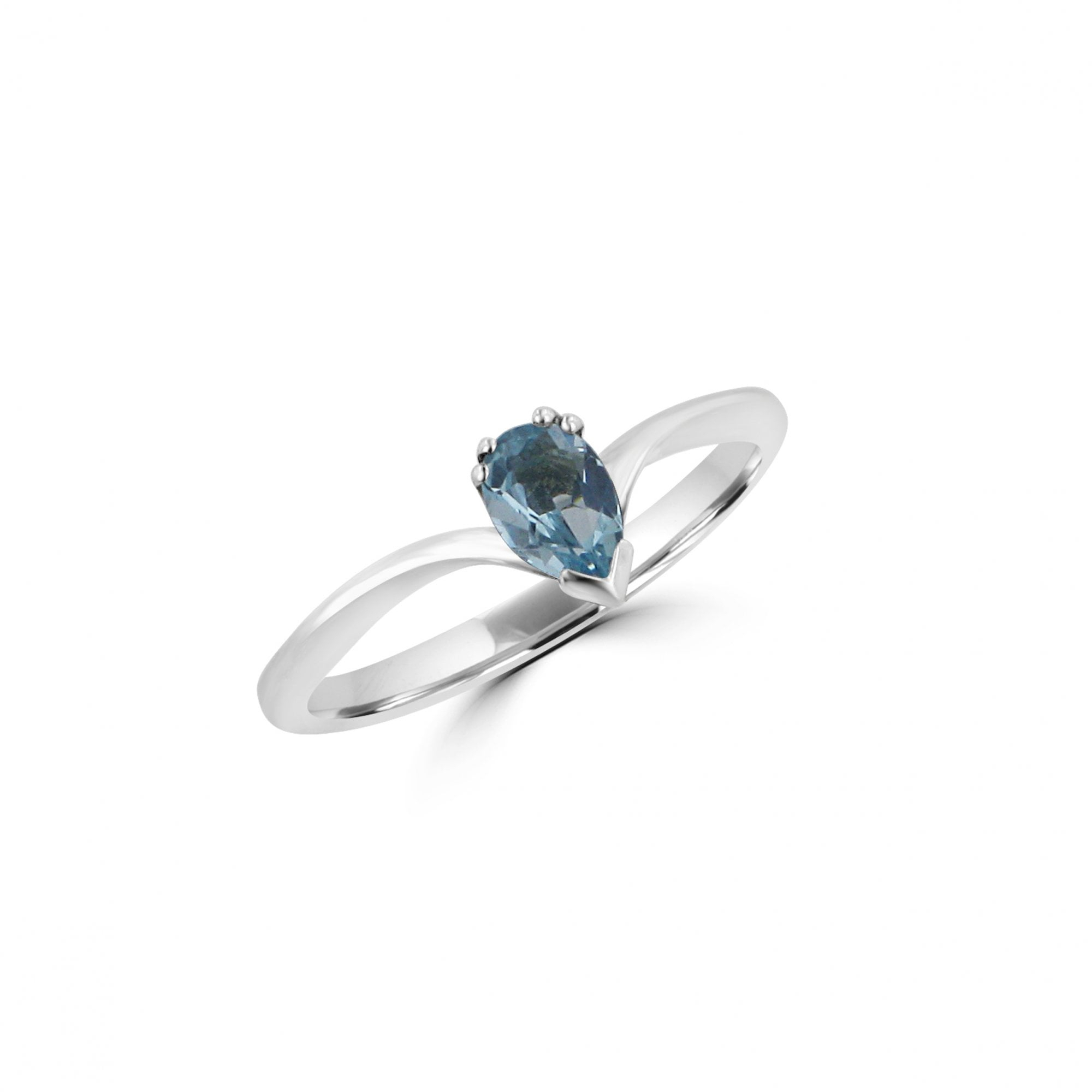 Avanti Sterling Silver Wishbone Ring With Pear Blue Topaz Pertaining To Most Current Tiara Wishbone Rings (View 3 of 25)