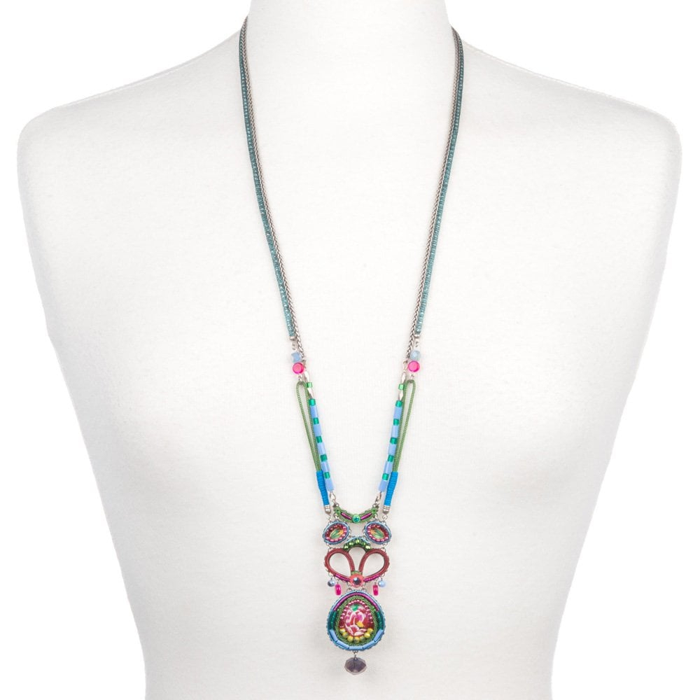 Ayala Bar Long Classic Double Stranded Necklace With Flower Glass Design –  3409 In Most Recent Classic Flower Locket Element Necklaces (View 3 of 25)