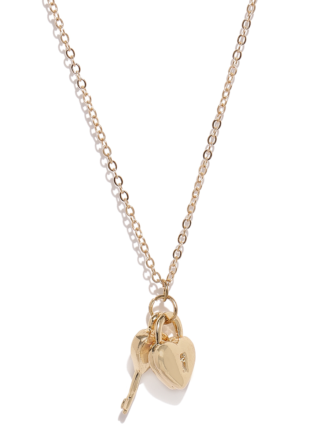 Ayesha Gold Toned Chain With Heart Shaped Lock & Key Pendant In 2020 Heart Shaped Padlock Necklaces (Gallery 25 of 25)