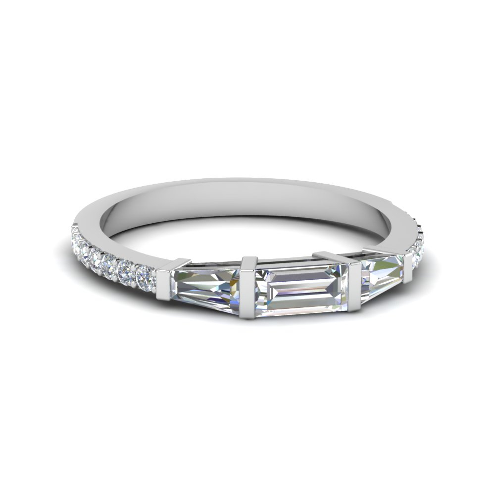 Baguette And Round Diamond Thin Band Pertaining To Most Popular Baguette And Round Diamond Anniversary Bands In White Gold (View 5 of 25)