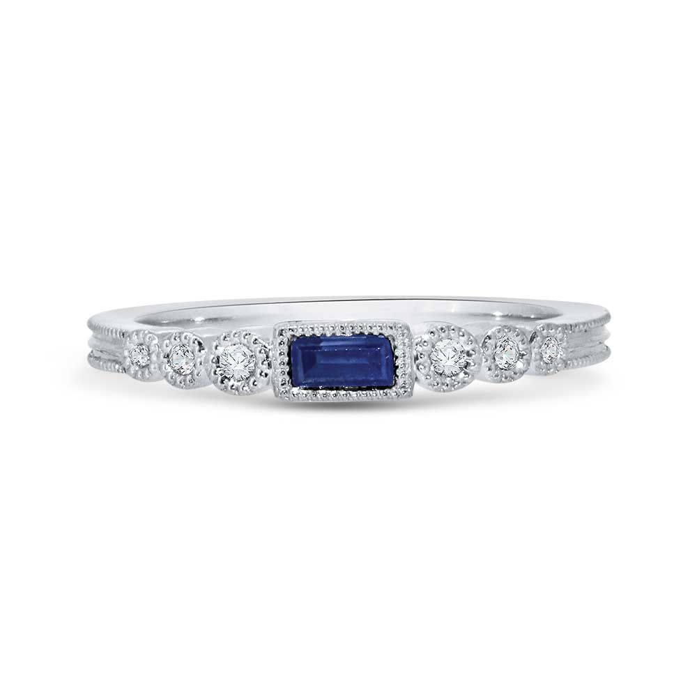 Baguette Blue Sapphire And Diamond Vintage Style Stackable Band In White Gold, 1/20ctw With Regard To 2019 Round And Baguette Diamond Vintage Style Anniversary Bands In White Gold (View 3 of 25)