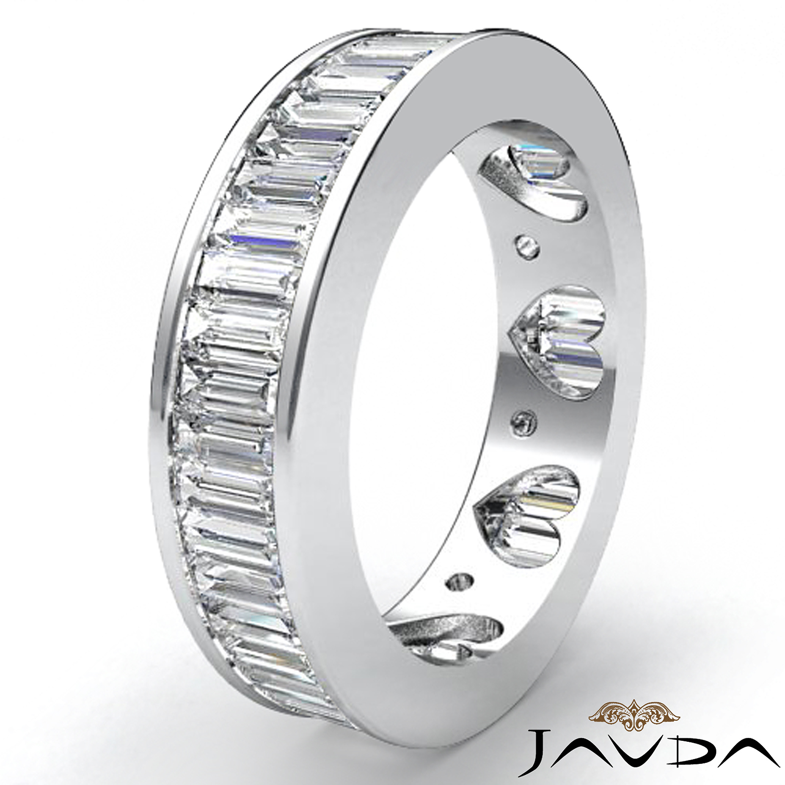 Baguette Channel Set Diamond Womens Eternity Wedding Band Pertaining To Most Current Baguette Diamond Channel Set Anniversary Bands In White Gold (View 8 of 25)