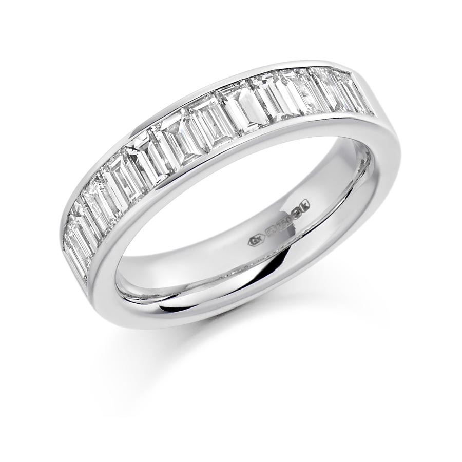Baguette Cut Channel Set Eternity Ring Het1189 Intended For Newest Baguette Diamond Channel Set Anniversary Bands In White Gold (View 9 of 25)