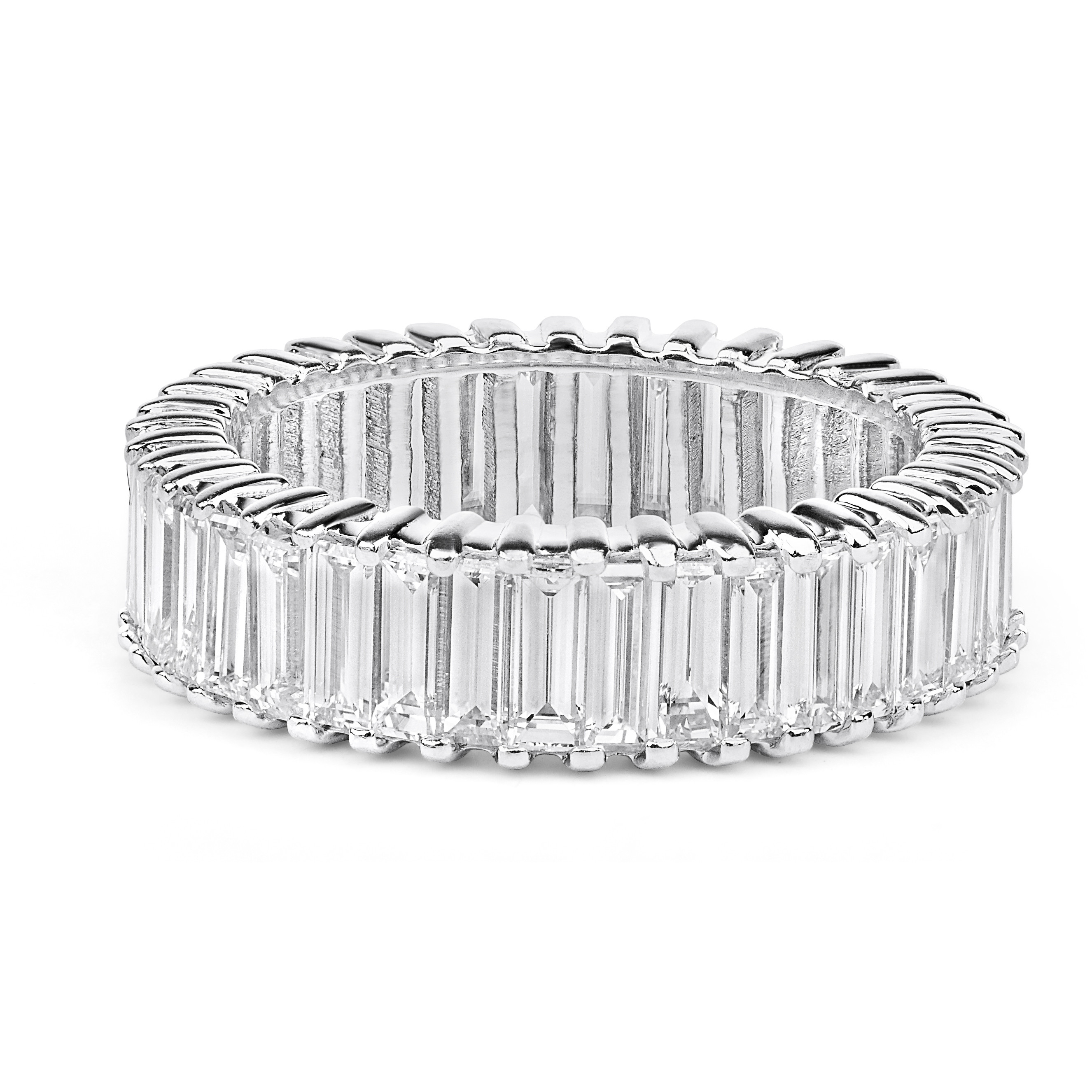 Baguette Diamond Eternity Wedding Ring In 14k White Gold ( (View 3 of 25)