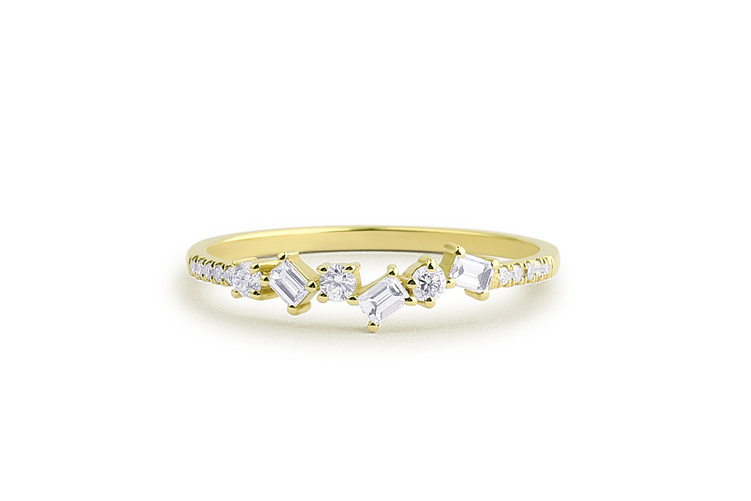 Baguette Diamond Ring / Baguette And Round Diamond Alternating Wedding Band  In 14K Gold / Anniversary Band / Stacking Ring / Wedding Ring With Most Popular Baguette And Round Diamond Alternating Anniversary Bands In White Gold (View 13 of 25)