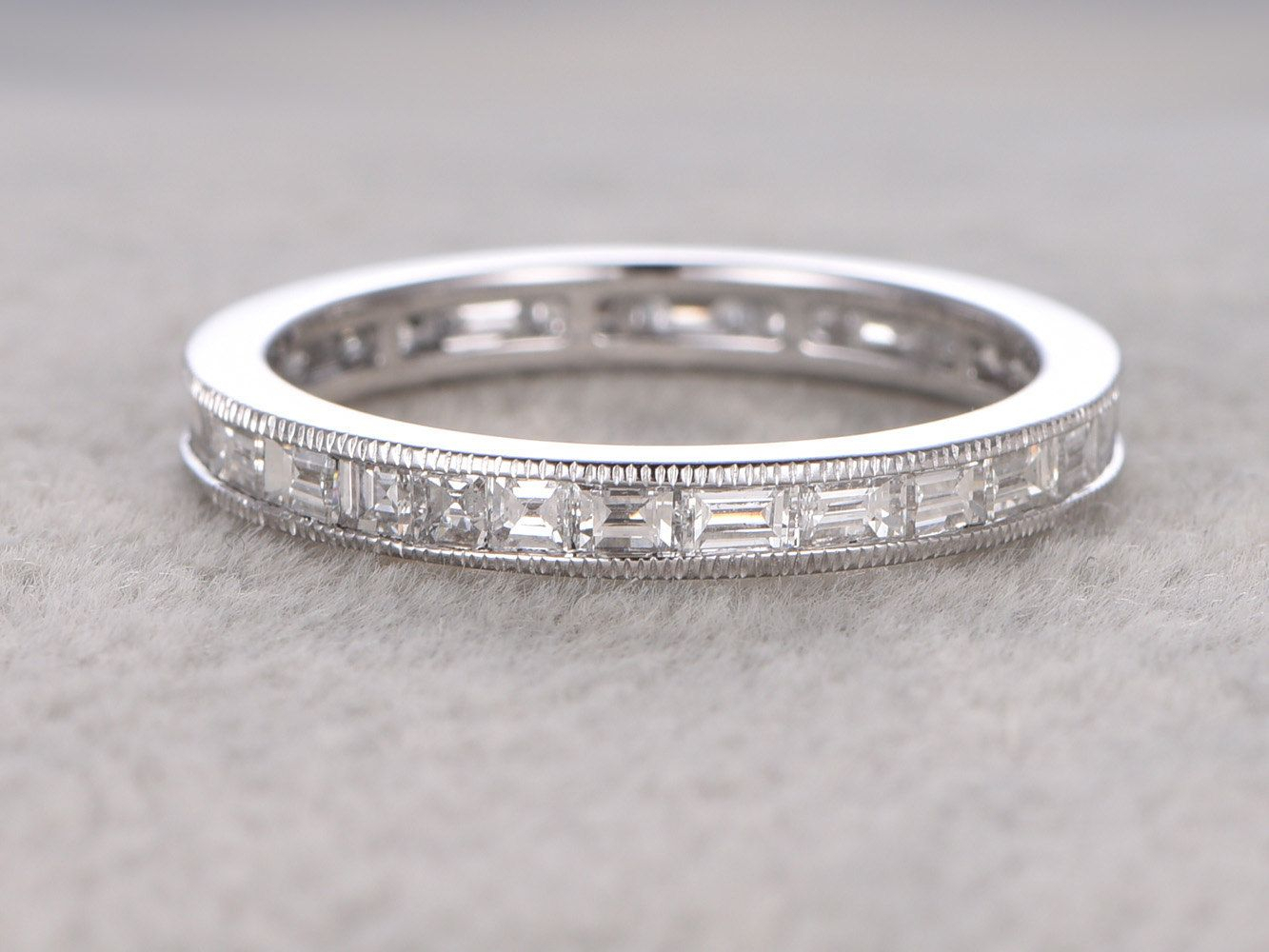 Baguette Diamond Wedding Rings For Her 14K White Gold Full With Most Recent Baguette Diamond Anniversary Bands In White Gold (View 14 of 25)