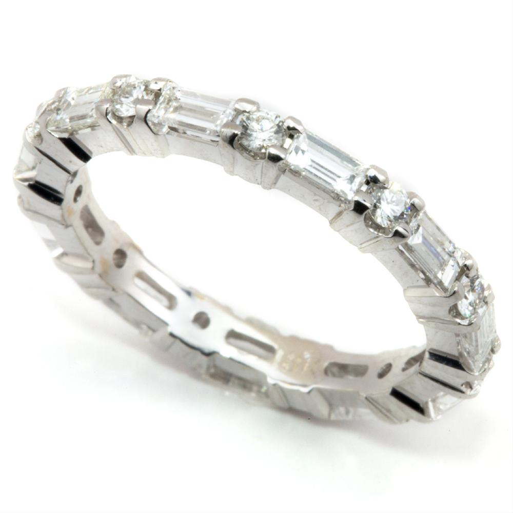 Baguette & Round Diamond Alternating Eternity Wedding Band For Most Current Baguette And Round Diamond Alternating Anniversary Bands In White Gold (View 12 of 25)