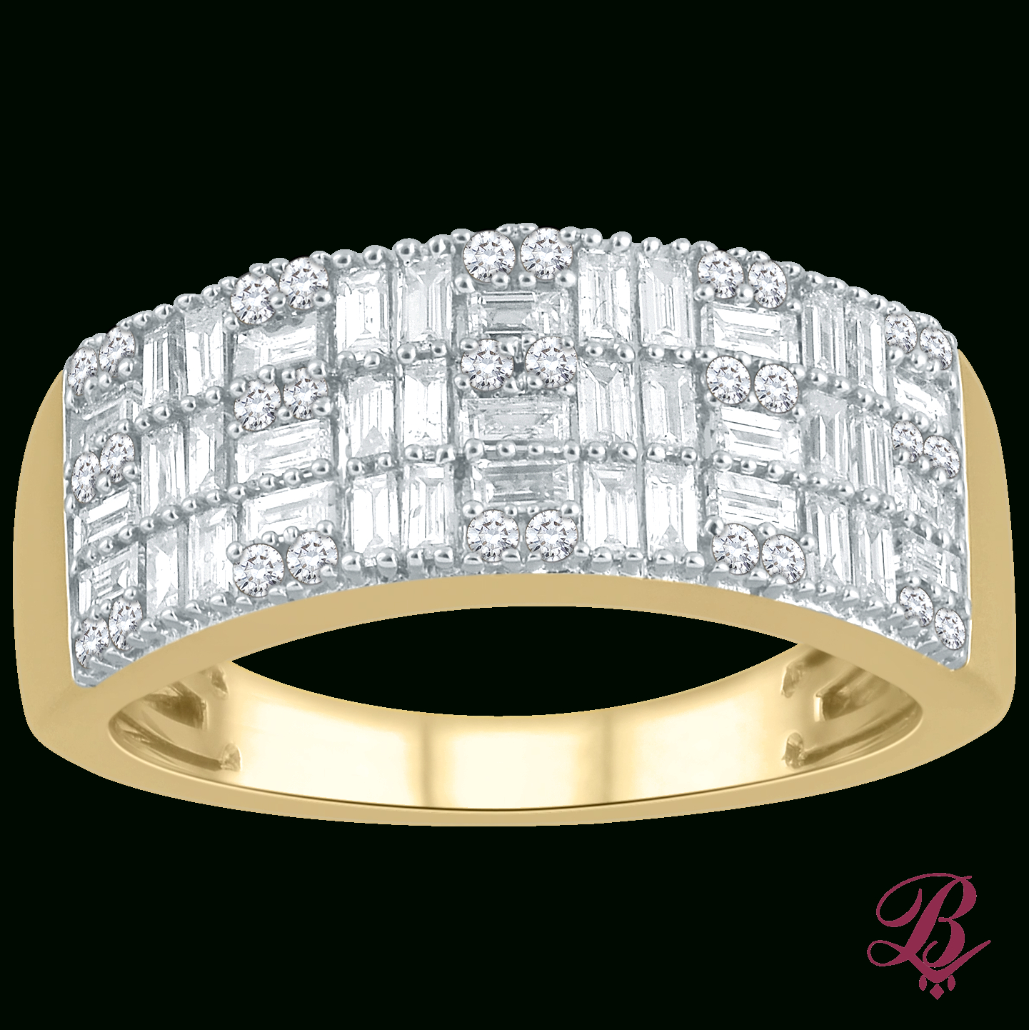 Baguette & Round Diamond Ring – Bombay Jewels Within Best And Newest Baguette And Round Diamond Multi Row Anniversary Ring In White Gold (View 7 of 25)