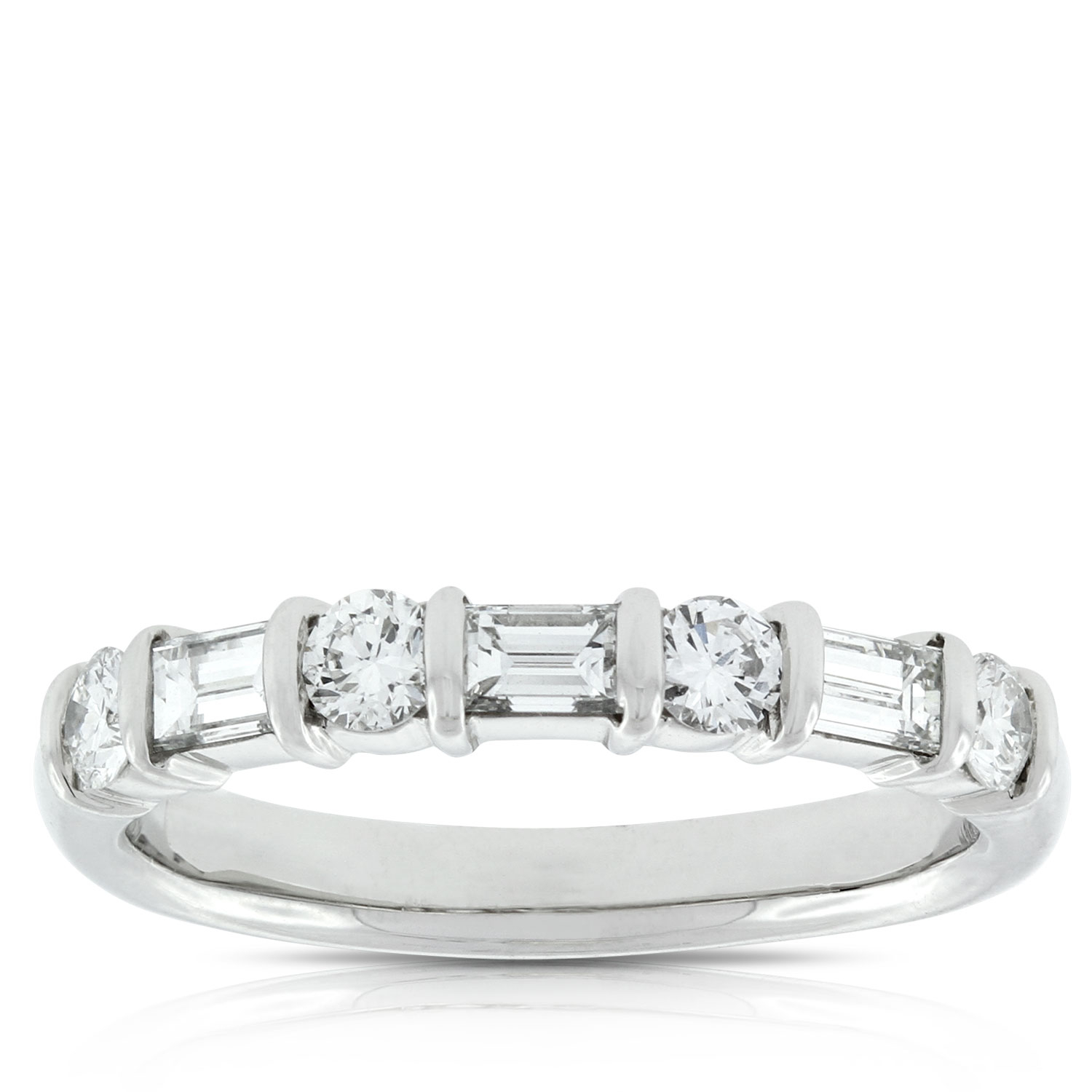 Baguette & Round Diamond Ring In Platinum, 3/4 Ctw (View 10 of 25)