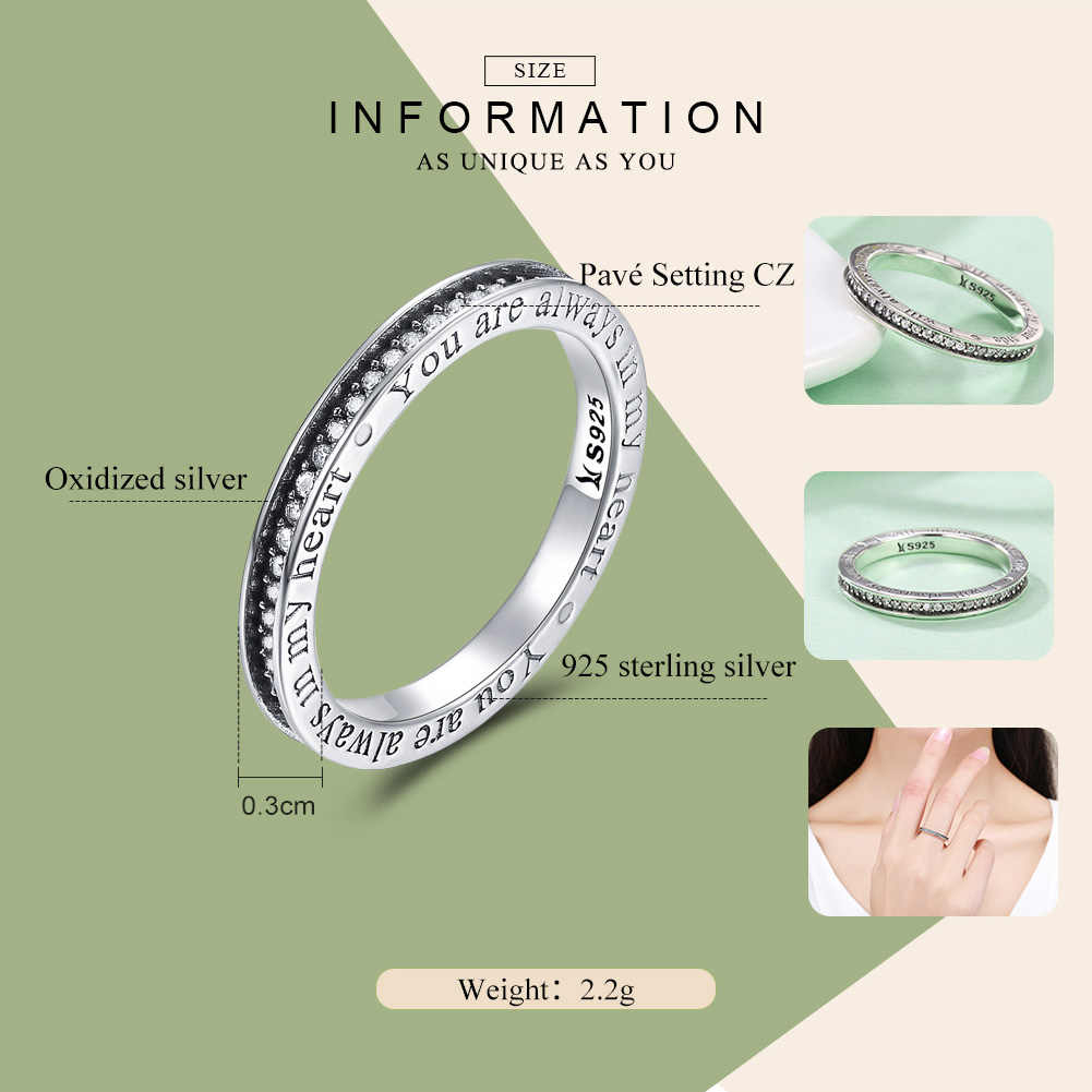 Bamoer 925 Sterling Silver You Are Always In My Heart Letter Pave Cz Finger  Rings For Women Wedding Engagement Jewelry Scr159 Inside Recent Pavé Puzzle Heart Rings (View 1 of 25)