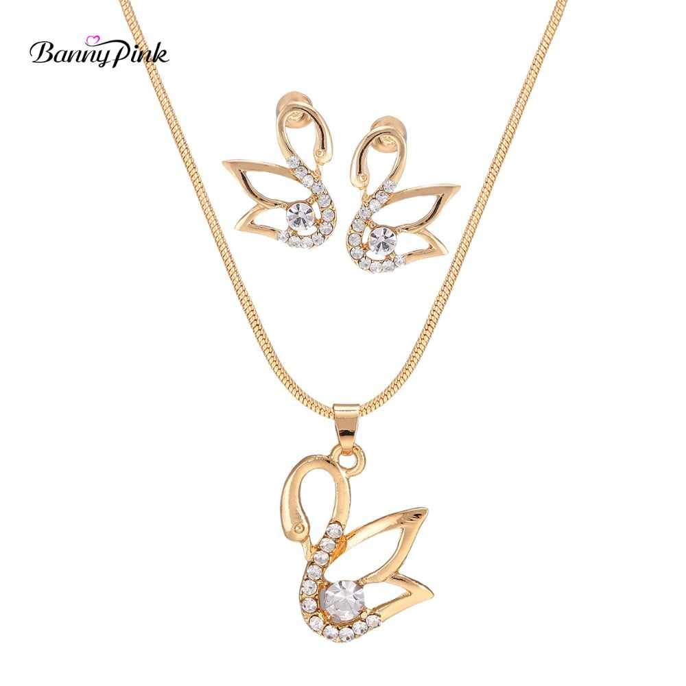 Banny Pink Chunky Cross Crown Note Butterfly Swan Rhinestone Pendant Choker Necklace Earrings For Women Cute Charms Jewelry Sets Within Latest Pink Pavé Butterfly Collier Necklaces (View 6 of 25)