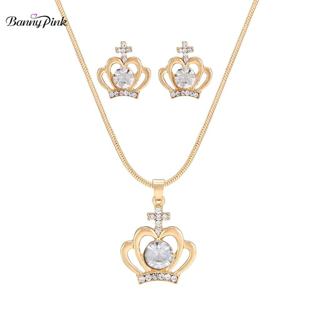 Banny Pink Chunky Cross Crown Note Butterfly Swan Rhinestone Pendant Choker  Necklace Earrings For Women Cute Charms Jewelry Sets Within Newest Pink Pavé Butterfly Collier Necklaces (View 5 of 25)