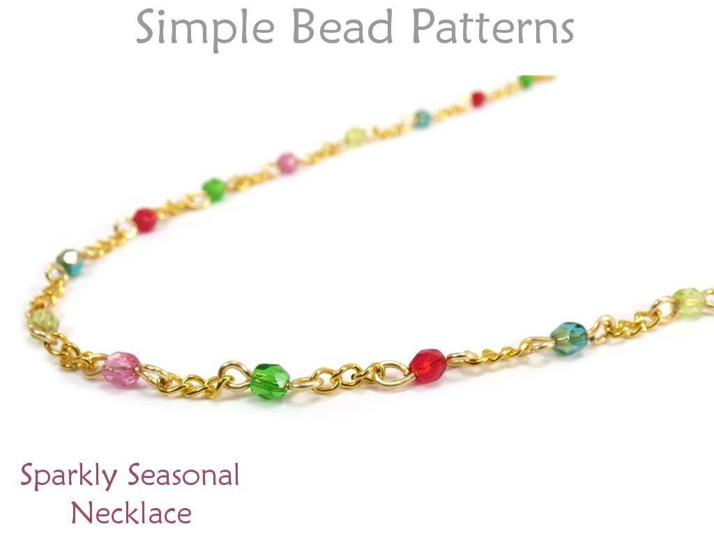 Beaded Chain Bracelet Tutorial – Easy Wire Wrap Pattern For Beginners –  Simple Bead Patterns – Sparkly Seasonal Necklace #380 In Current Beaded Chain Necklaces (Gallery 17 of 25)