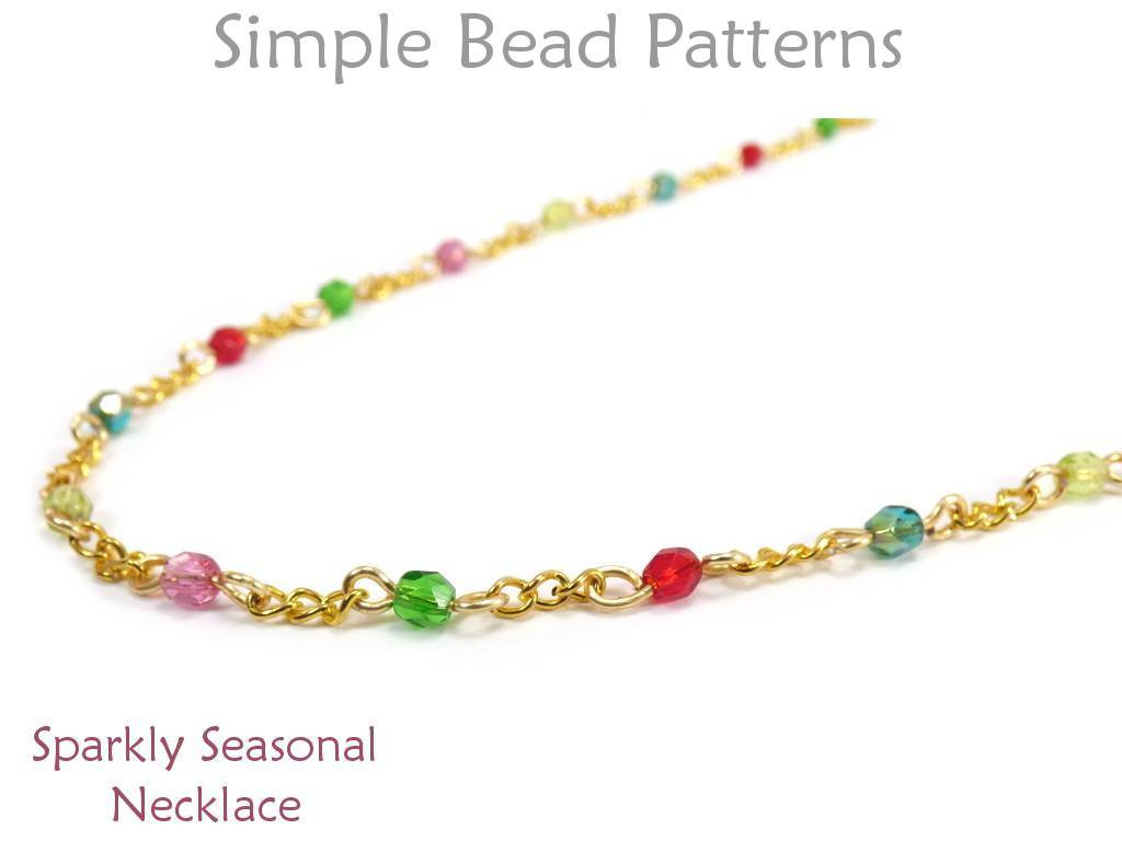 Beaded Chain Bracelet Tutorial – Easy Wire Wrap Pattern For Beginners – Simple Bead Patterns – Sparkly Seasonal Necklace #380 With Regard To 2019 Beaded Chain Necklaces (View 17 of 25)