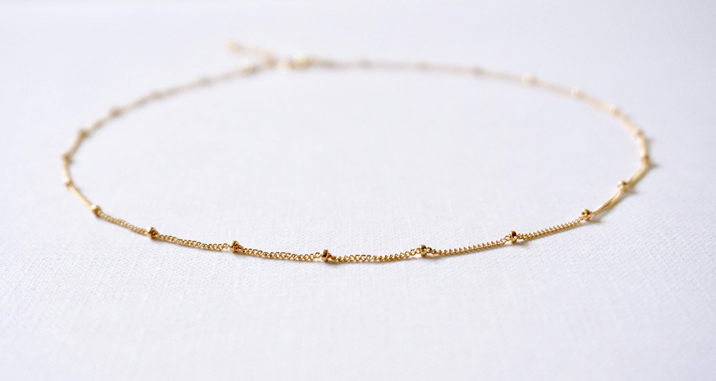 Beaded Chain Necklace, Beaded Chain Choker, Gold Filled Beaded Satellite Chain, Sterling Silver Satellite Chain, Rose Gold Beaded Chain With Regard To Recent Beaded Chain Necklaces (View 3 of 25)