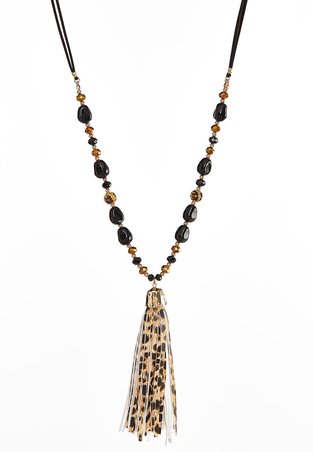 Beaded Leopard Tassel Necklace Throughout Most Up To Date Beaded Chain Necklaces (View 16 of 25)
