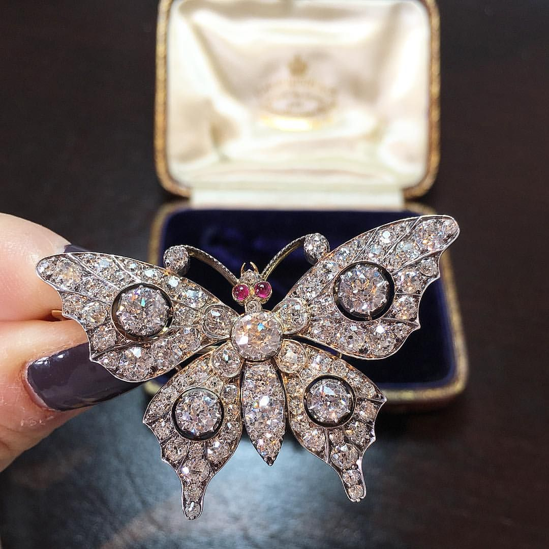 Beautiful Victorian Diamond Butterfly Brooch Mounted In Silver And Pertaining To Most Up To Date Blue Pavé Butterfly Brooch Necklaces (View 18 of 25)