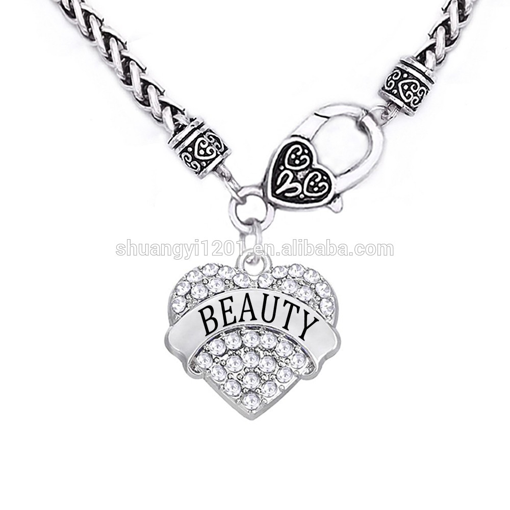 Beauty And Beast Necklace Gift Wheat Link Heavy Chain Full Crystal Heart Shaped Engraved Pendant Necklaces Set – Buy Wheat Heavy Heart Pendant,beauty Intended For Best And Newest Wheat Pendant Necklaces (View 18 of 25)