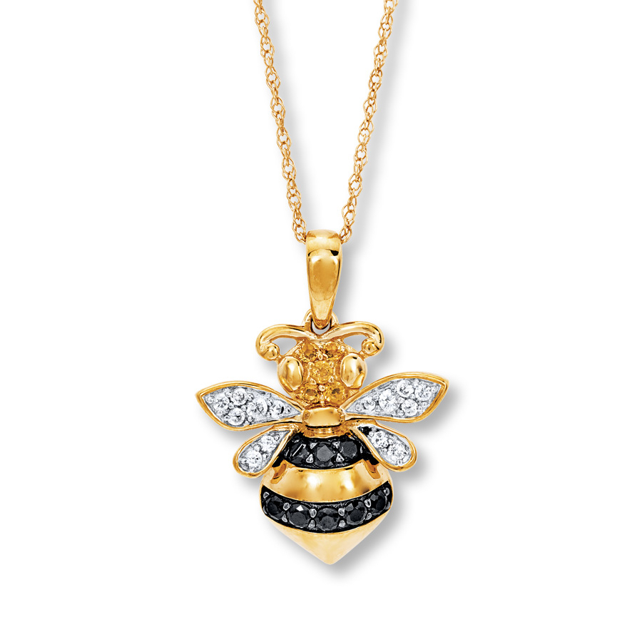 Bee Necklace Citrine/lab Created Sapphires 10K Gold In 2020 Bee Locket Element Necklaces (Gallery 7 of 25)