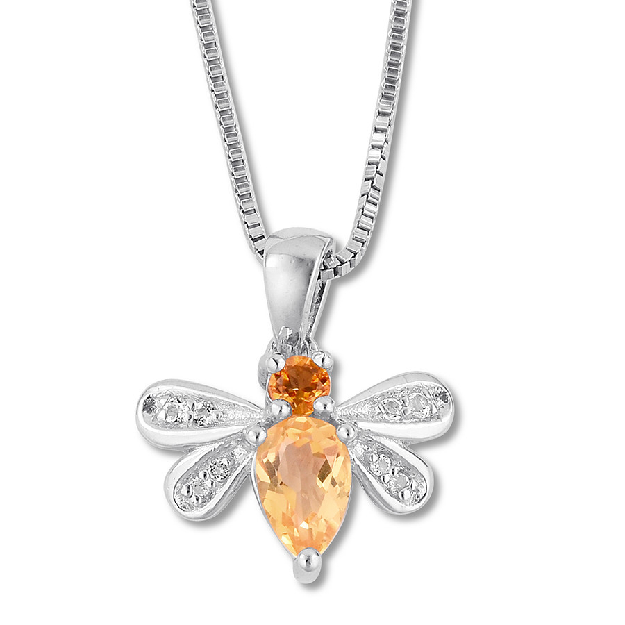 Bee Necklace Citrine & White Topaz Sterling Silver – 375580002 – Kay Regarding Most Recently Released Bee Locket Element Necklaces (Gallery 13 of 25)